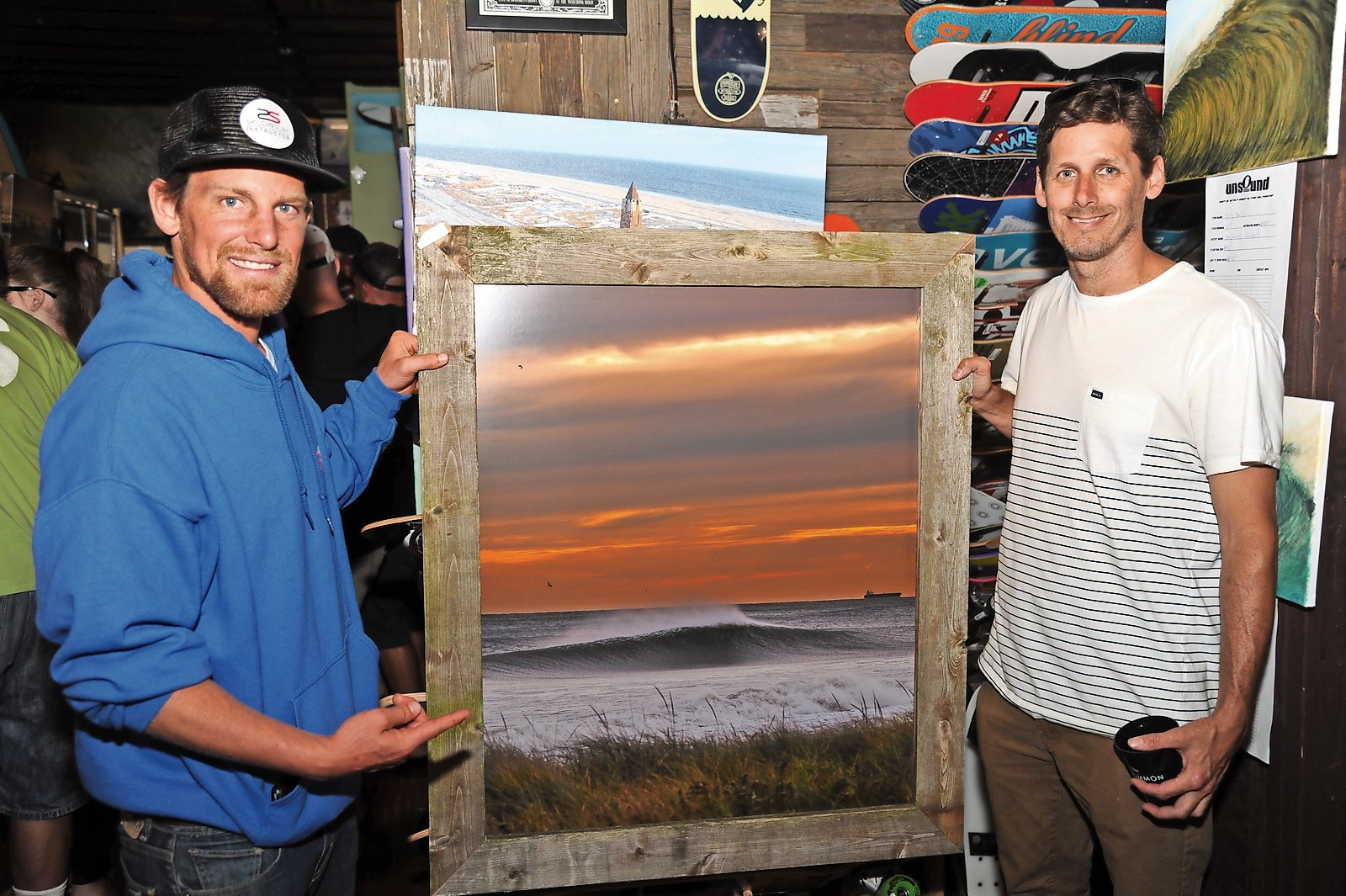 Professional big-wave surfer Will Skudin, left, with photographer and Unsound co-owner Mike Nelson.