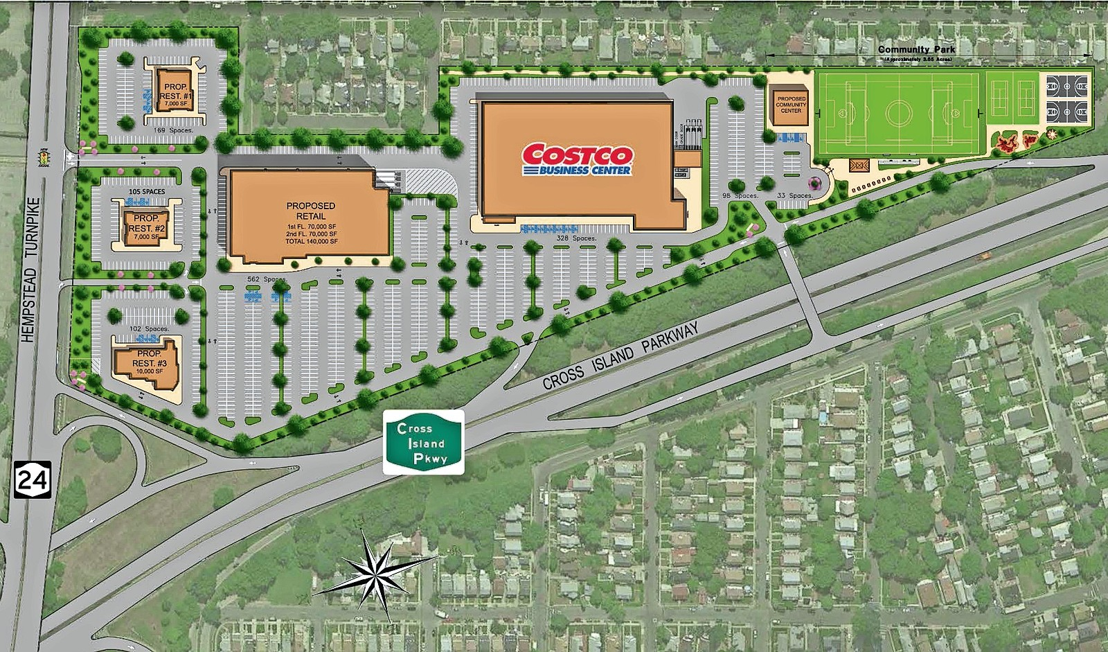Blumenfeld Development Group's plan for Belmont Park consists of a smaller Costco along with restaurants, retail space and a recreation center.