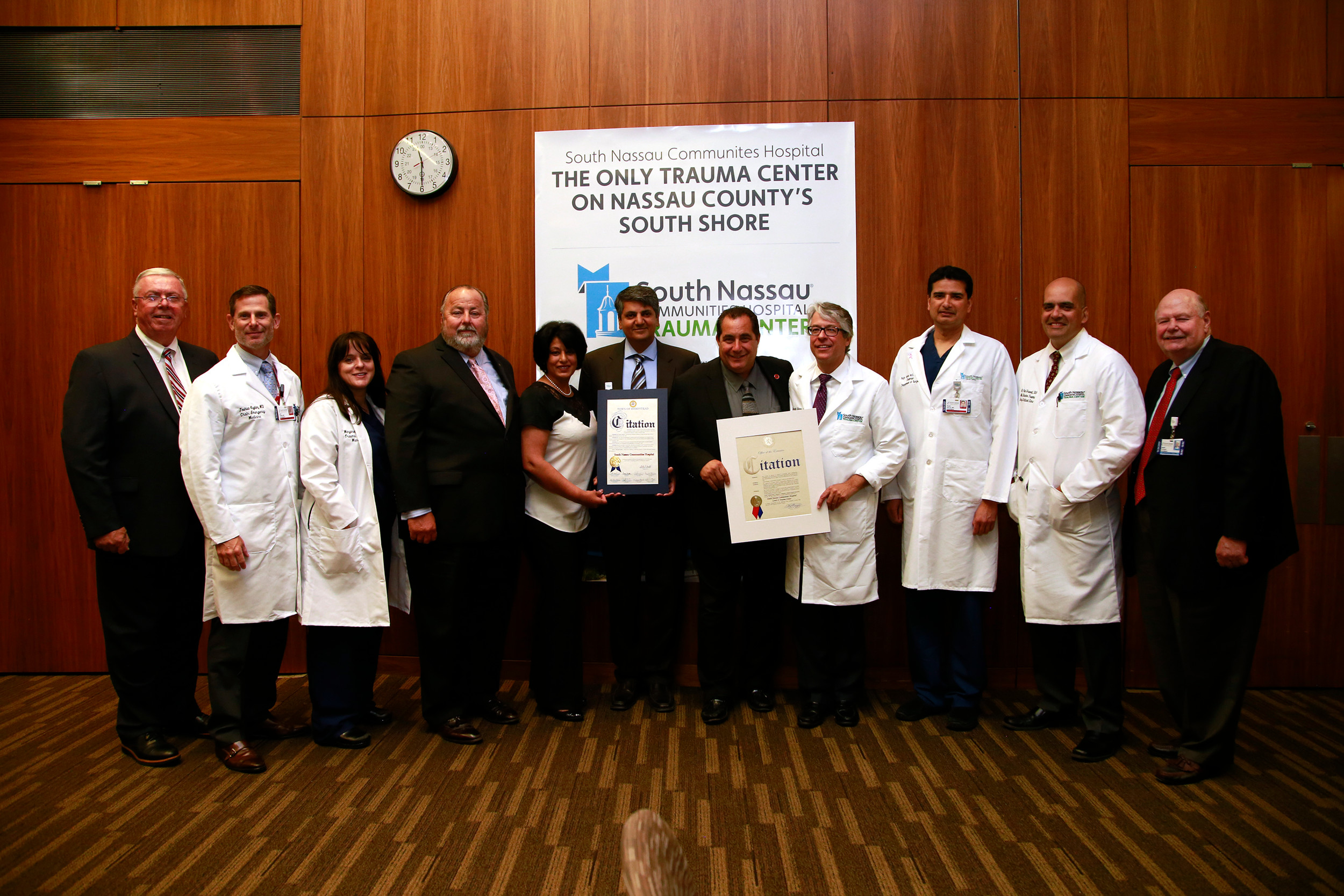 South Nassau doctors and administrators accepted citations from local elected officials after the hospital was certified as a Level II trauma center.