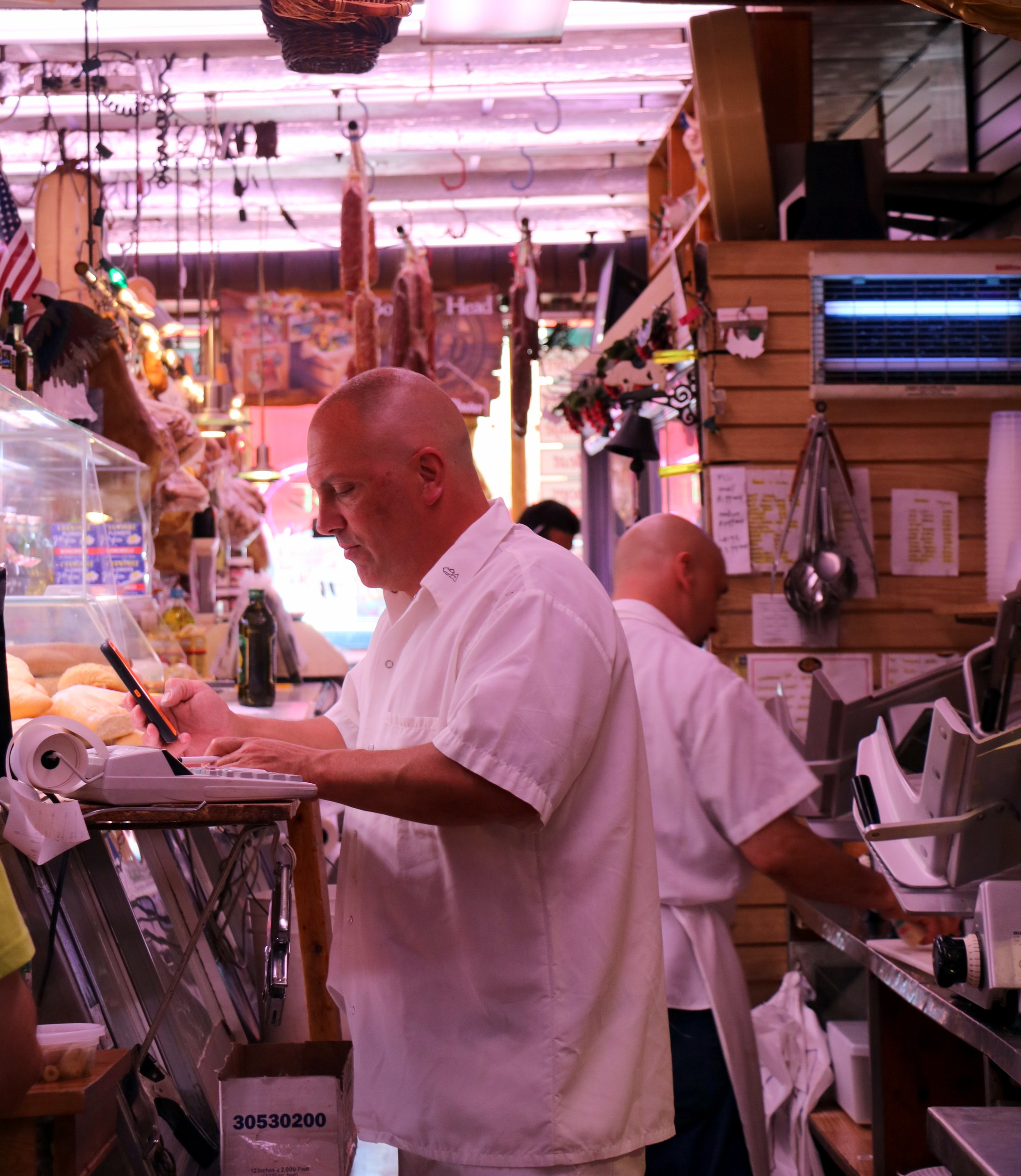 John Carlino is co-owner of the T&F Pork Store in Franklin Square, which he bought from his two uncles, both Italian immigrants.