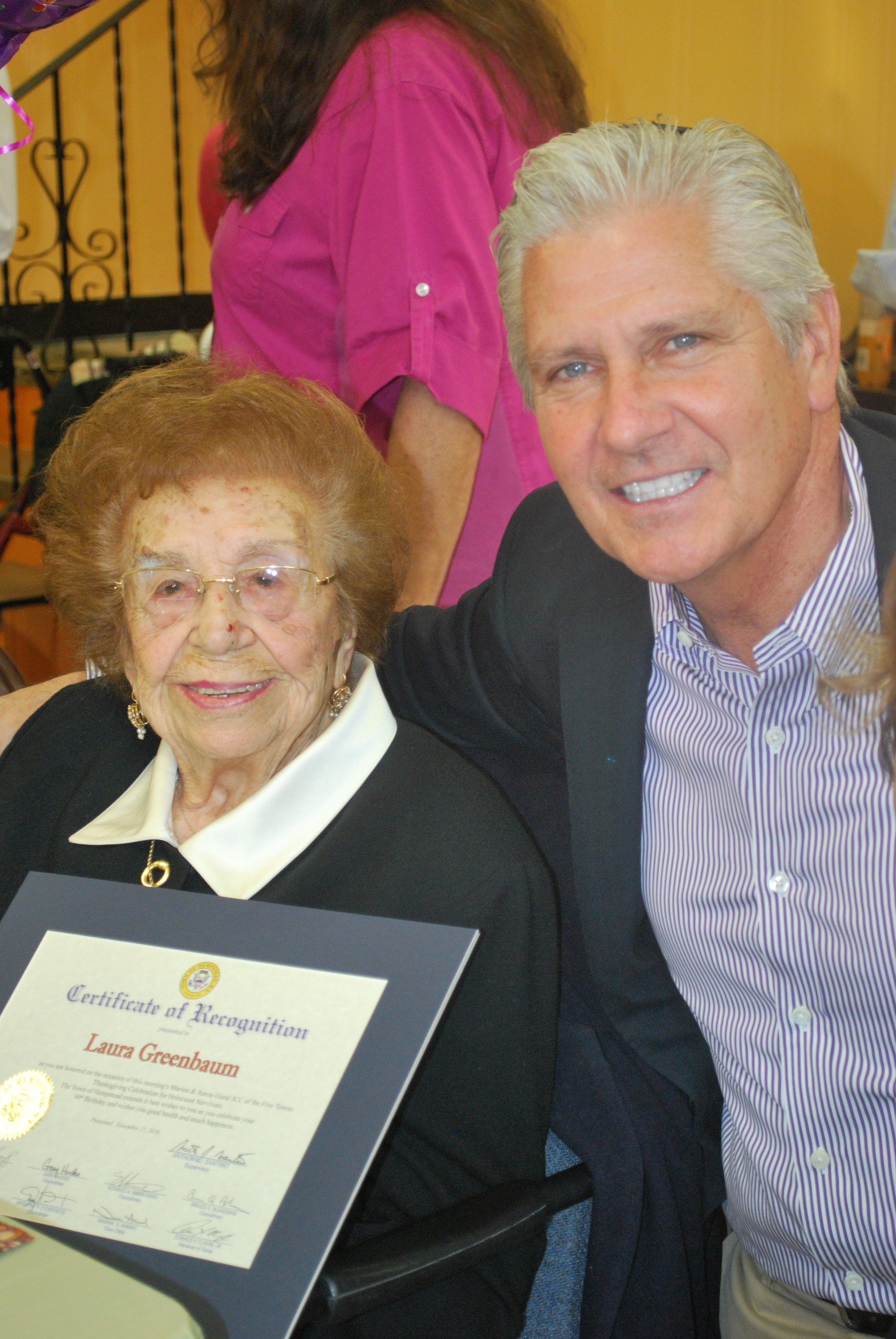 Laura Greenbaum, 99, was honored by Hempstead Town Councilman Bruce Blakeman at the JCC's Thanksgiving Day luncheon.