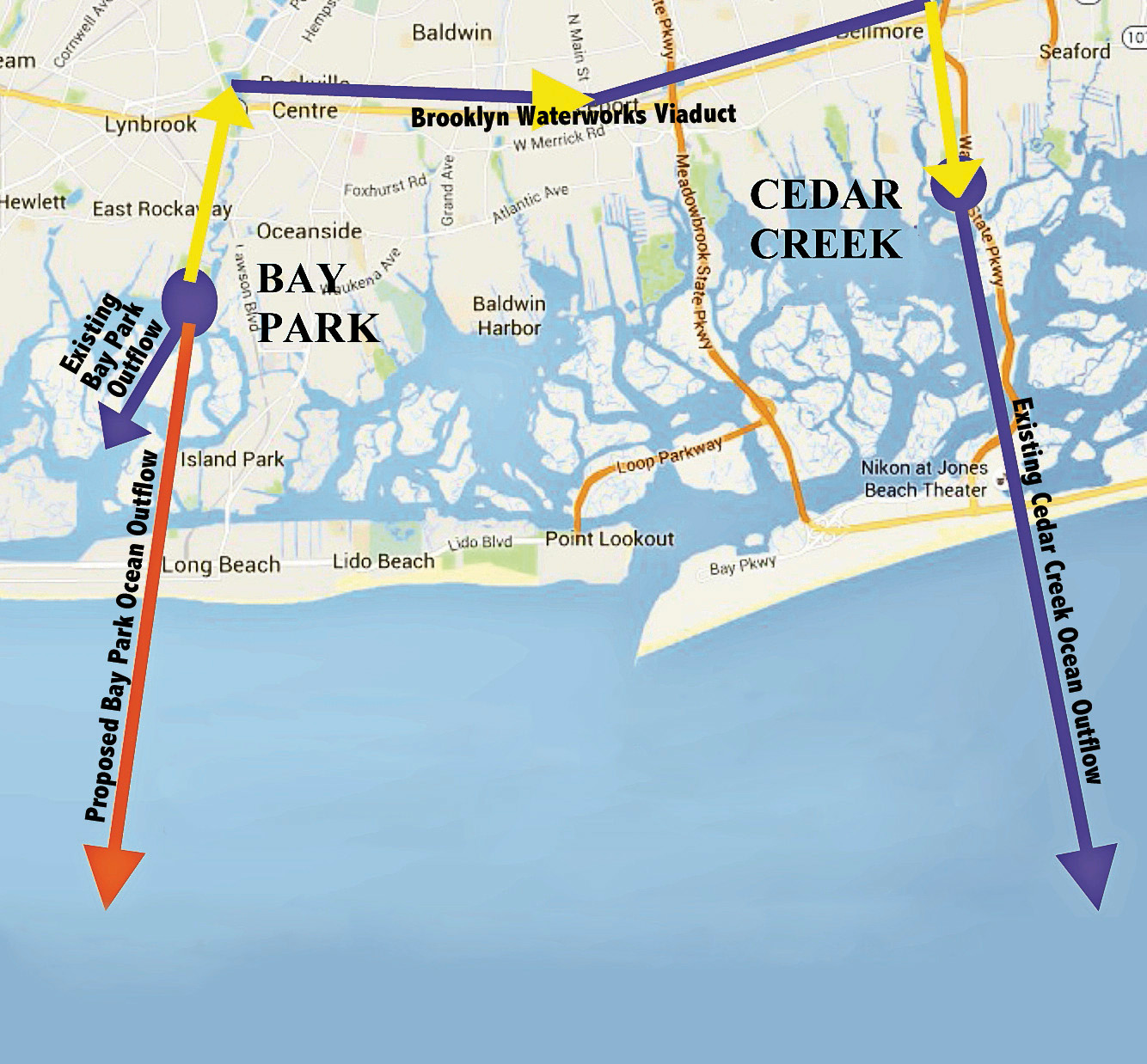 If the pipe under study is usable, it will carrying treated waste from Bay Park to Cedar Creek's outfall pipe near the Wantagh-Seaford border.