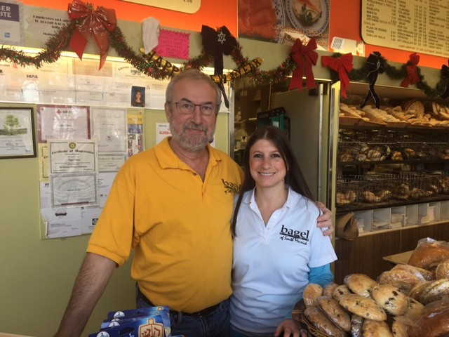 Sam Asatur, 56, and his daughter Yana Hirschorn, 34, of Port Washington look forward to the new  creations they will be bringing to the Bagel Plaza.