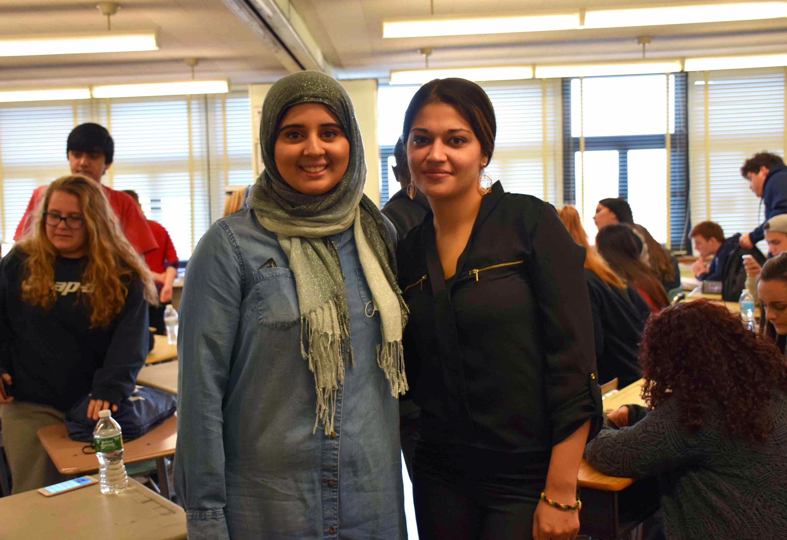 Mepham student Rina Sarfraz, left, reached out to Naila Amin, 27, of Baldwin, to organize her presentation for the school's Leadership and Voices of the Past students.