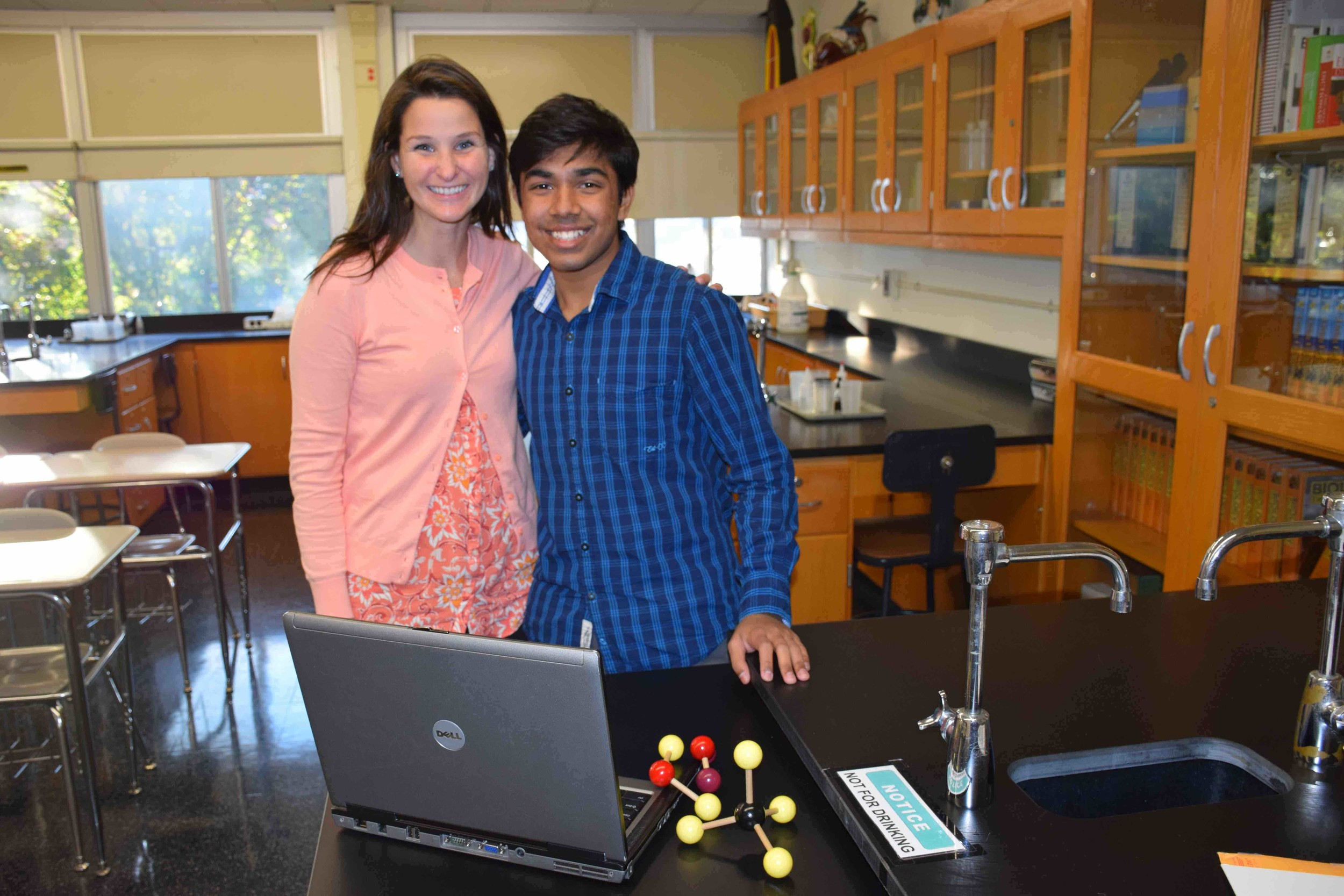 W.T. Clarke High School science research teacher Erika Rotolo congratulated senior Alby Joseph on receiving scholar status in the 2017 Regeneron Science Talent Search competition.