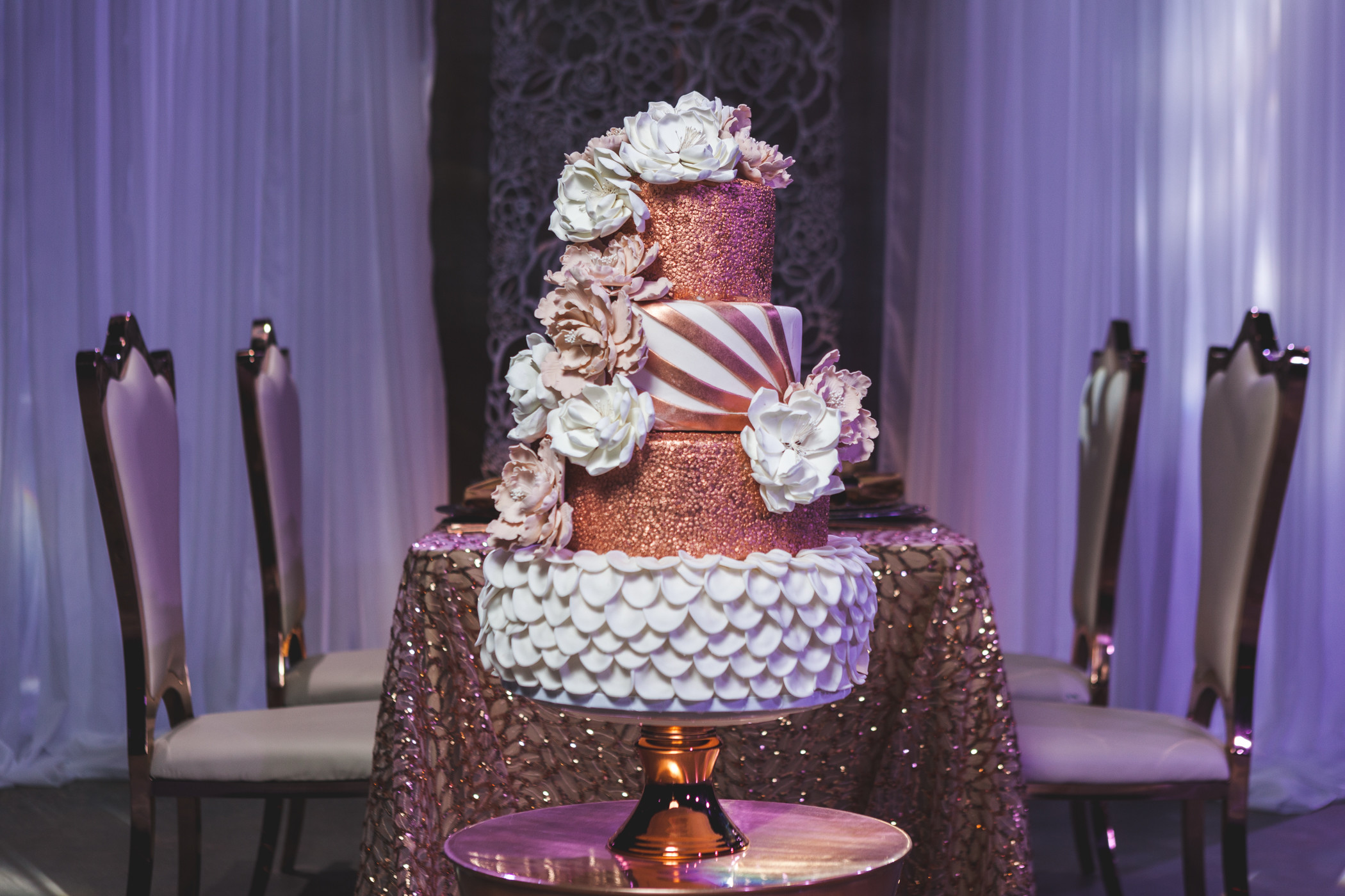 A Sydney's Sweets wedding cake, as featured in Inside Weddings magazine.