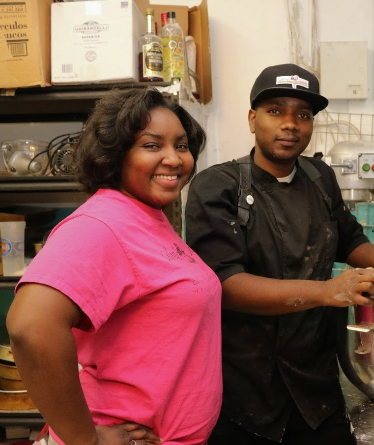 Sydney and Jermaine Perry in the kitchen of their bakery last week.