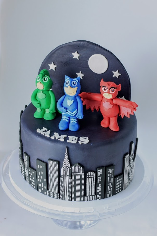 A client requested this custom-made PJ Masks cake for her son.