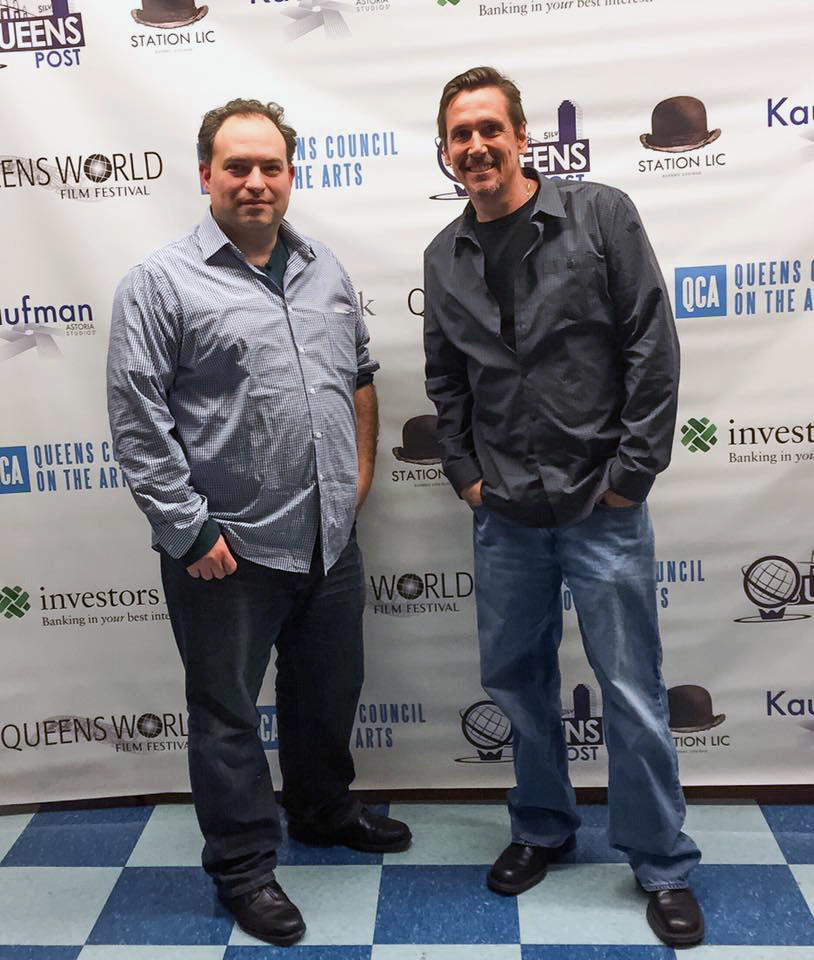 "Lee Kolinsky, left, of Bellmore and Joe Halsey, of Trenton, posed at the Queens World Film Festival where their short film, ""Junkie Heaven,"" premiered."