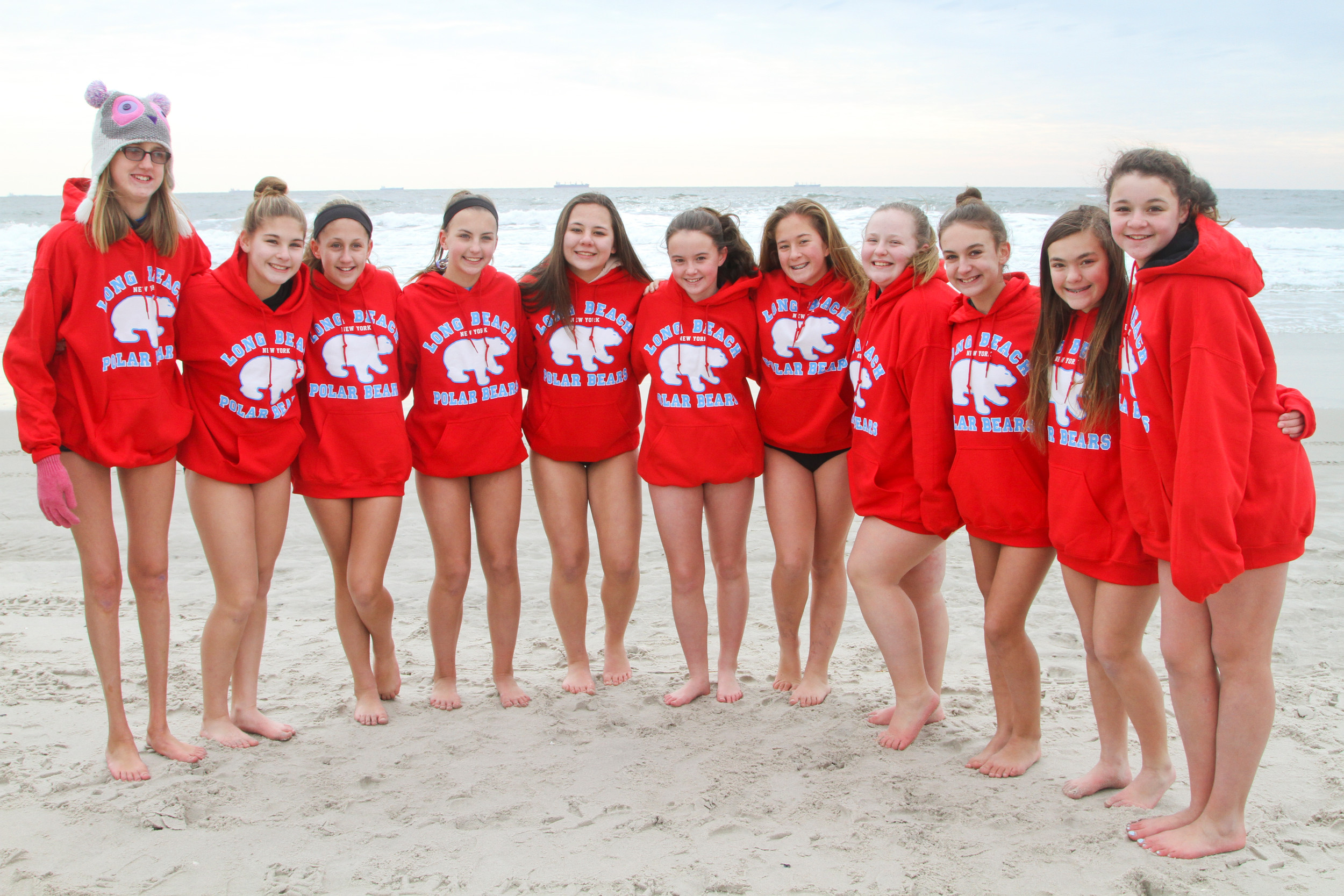 A group from West Islip showed off this year's sweatshirts.