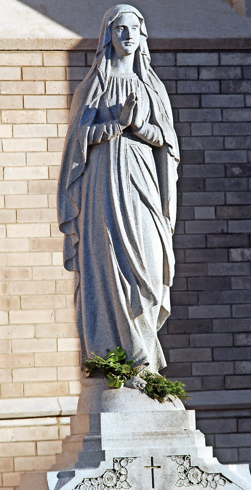 A statue of the Virgin Mary, at the entrance to St. Agnes Cathedral.