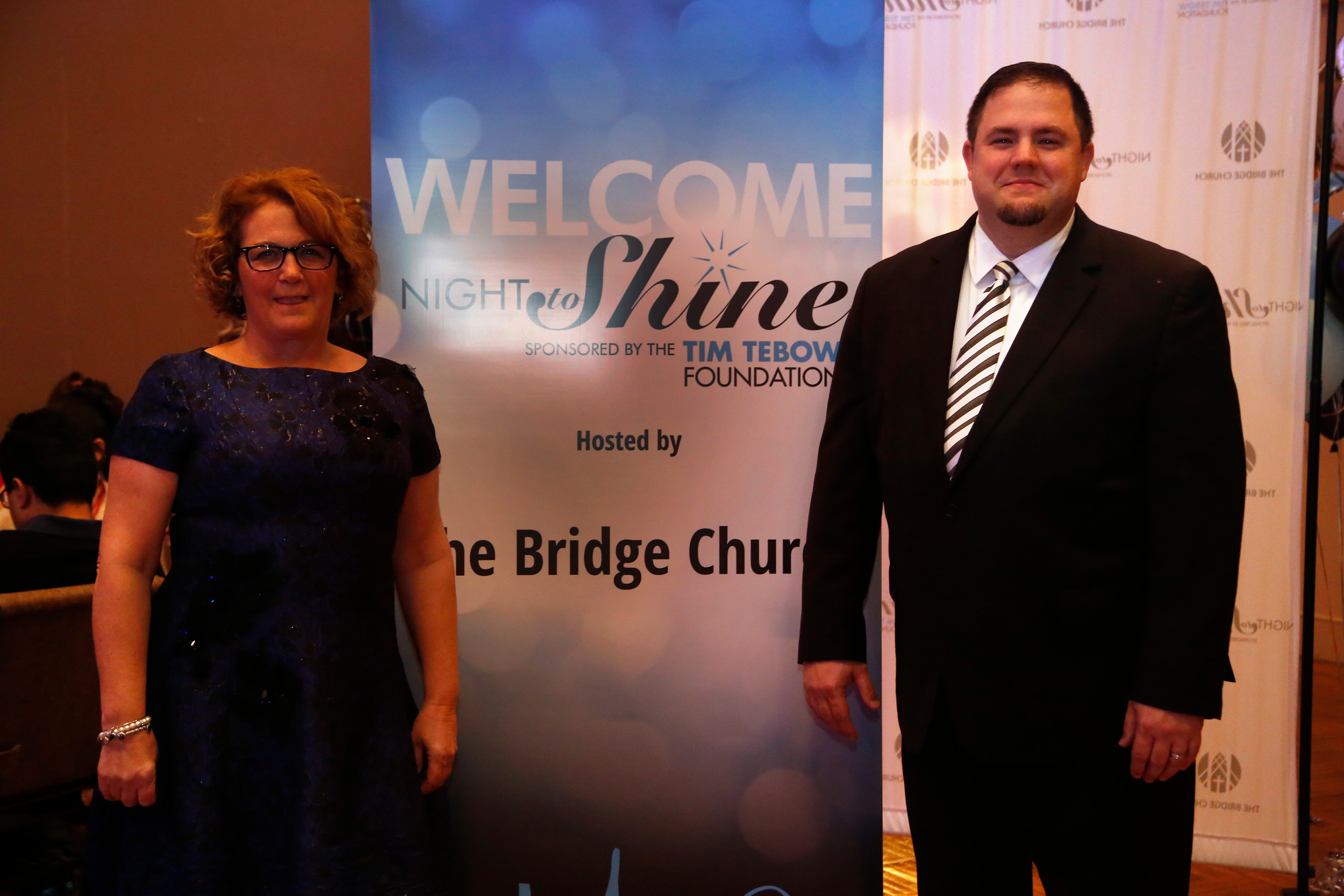 "Ellen White of the Backyard Players and Friends, and Pastor Dan Quagliato of The Bridge Church during the ""Night to Shine"" event."