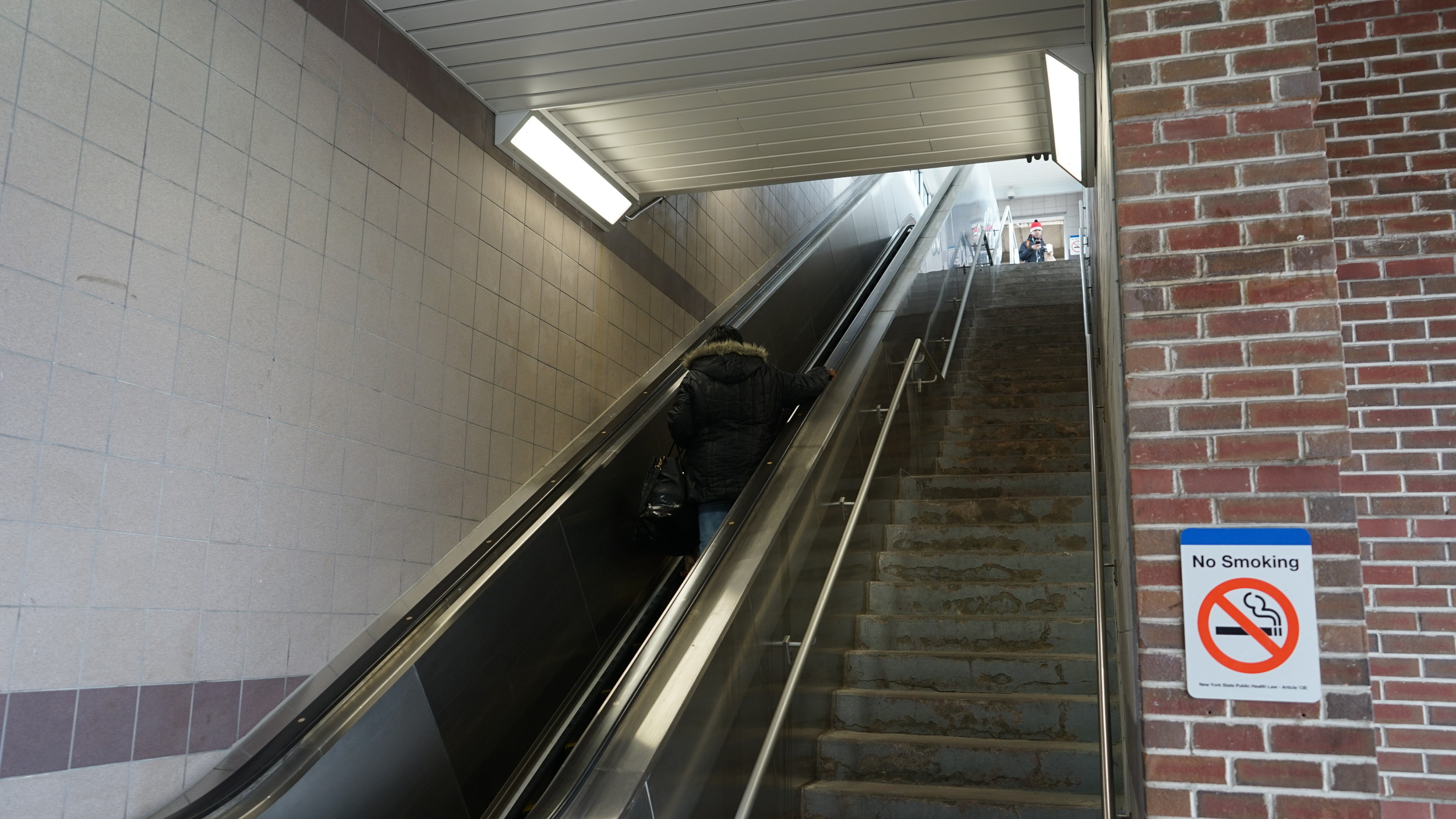 The new escalator at the Rockville Centre train station was up and running on Feb. 12.