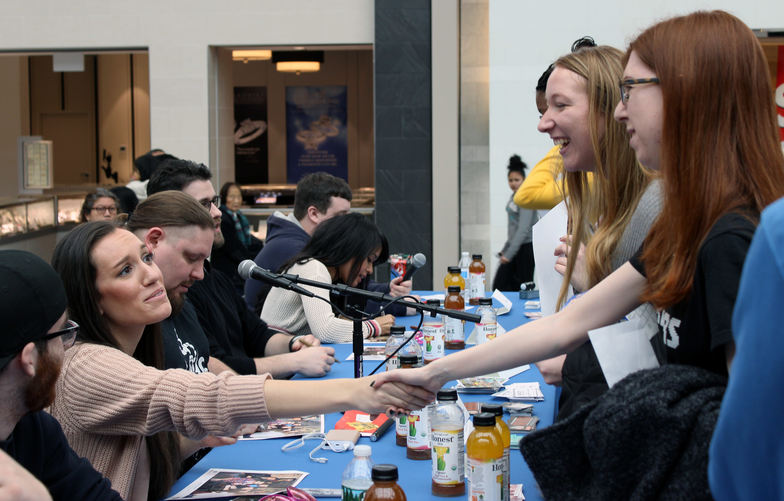 Grindhouse Radio co-host Kim Adragna, 22, of Merrick, connected with her fans at a meet-and-greet at the Broadway Mall in Hicksville.