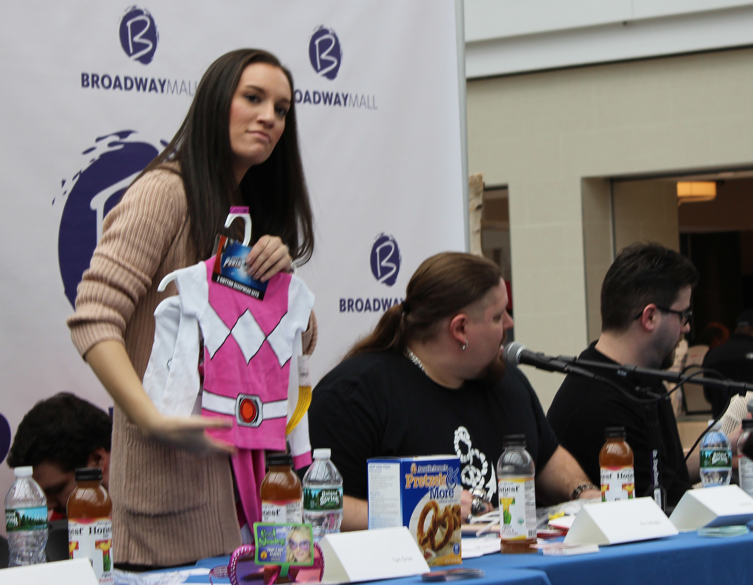 Grindhouse Radio co-host Kim Adragna, 22, of Merrick, prepared to give away a children's Power Rangers outfit to whoever could guess which actresses played the character in the original movies. The Grindhouse cast will host a pre-screening of the new film next month at the Bellmore Playhouse.