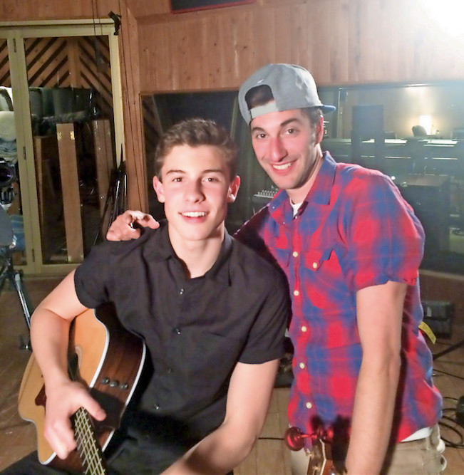 "Former Oceansider Scott Harris, right, pictured a few years ago, has written songs with teenage musician Shawn Mendes, including ""Life of the Party"" and ""Treat You Better."""