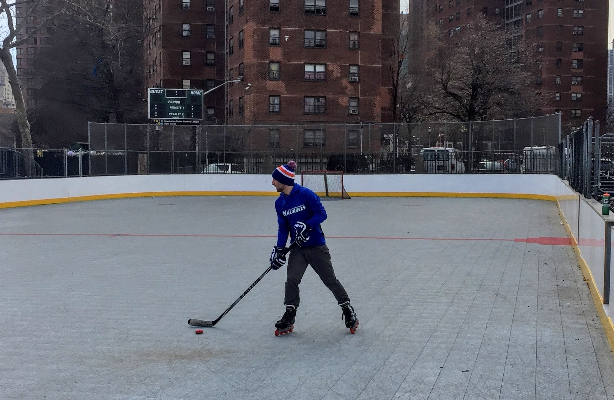 Avi Margulies practiced on a rink in northern Manhattan. Margulies co-founded the Maccabees roller hockey team two years ago at Yeshiva University.