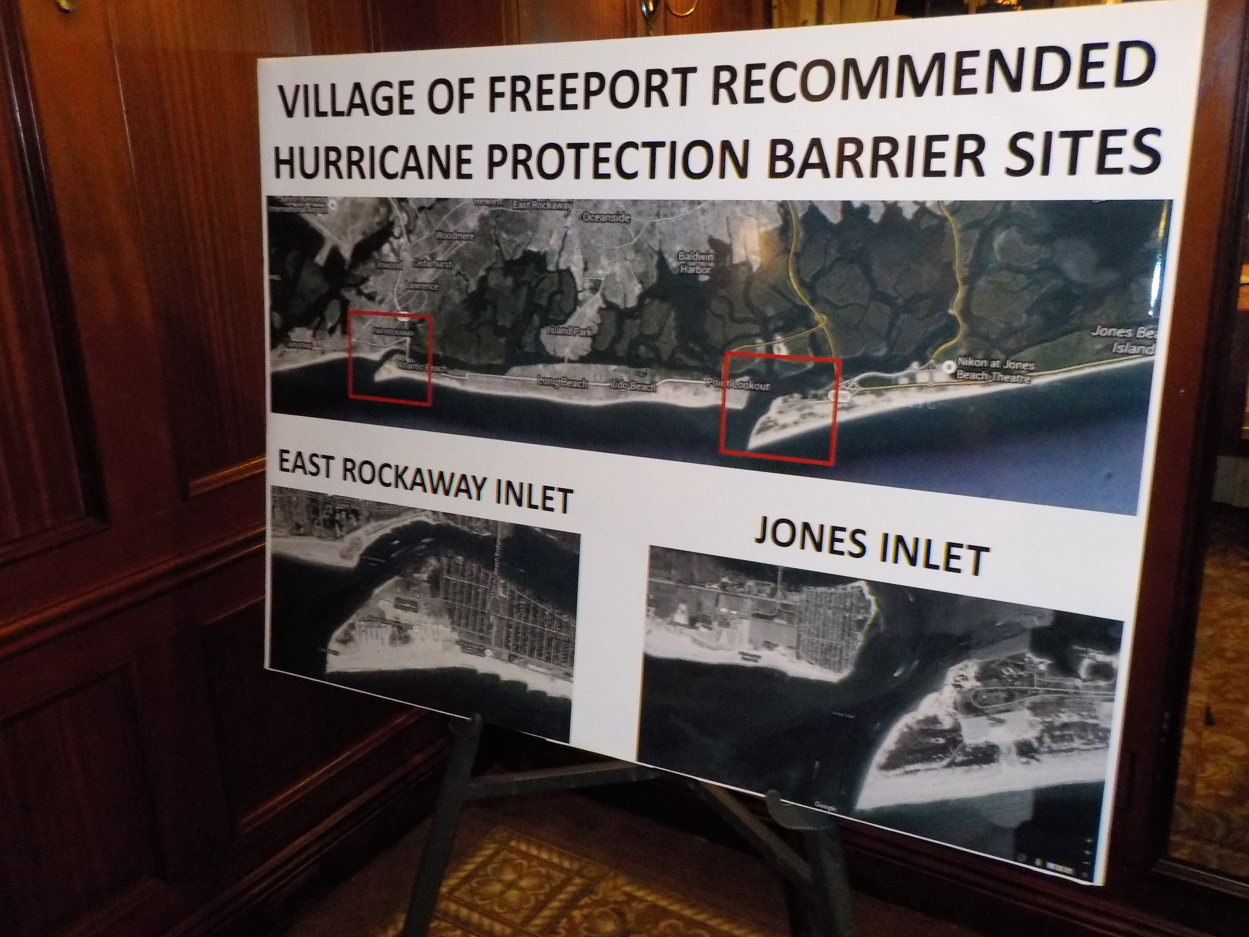 A rendering of the East Rockaway and Jones inlets, where the hurricane protection barriers would be built.