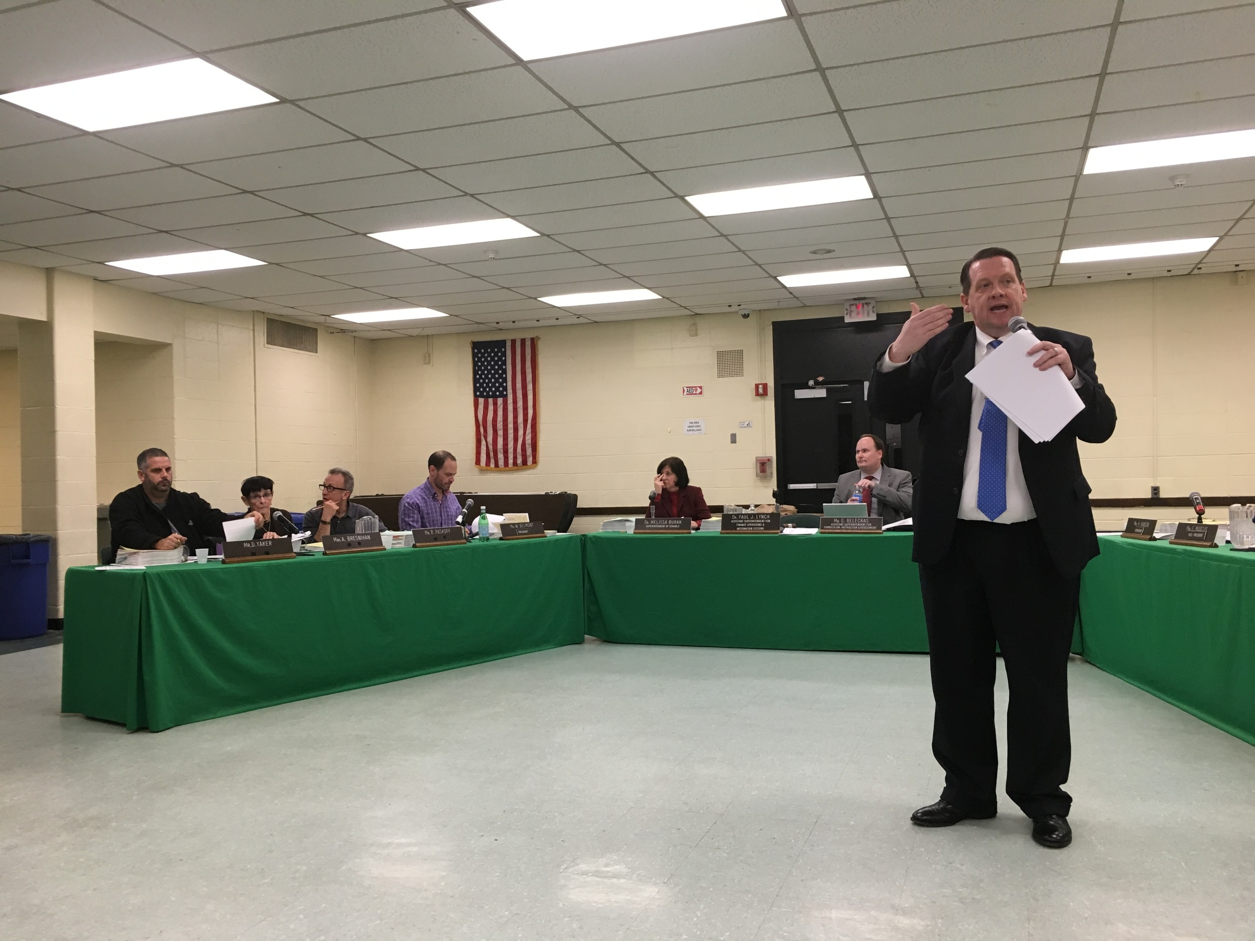 Dr. Paul Lynch, the superintendent for finance at Lynbrook Public Schools, presented a proposed balanced budget on Feb. 15 that includes plans to expand the district's tablet program.