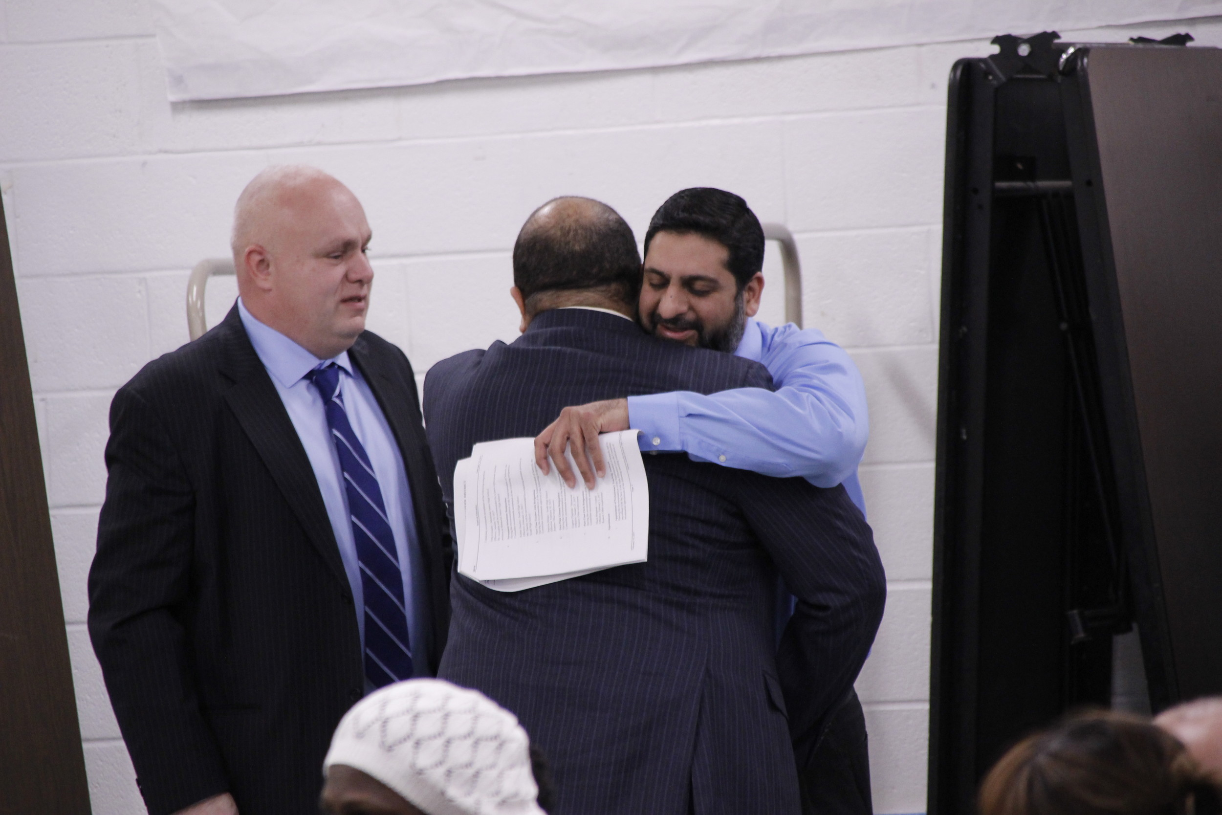 Valley stream high schools to recognize islamic holidays herald karim mozawalla right a trustee of islamic center of south shore embraced school kristyandbryce Images
