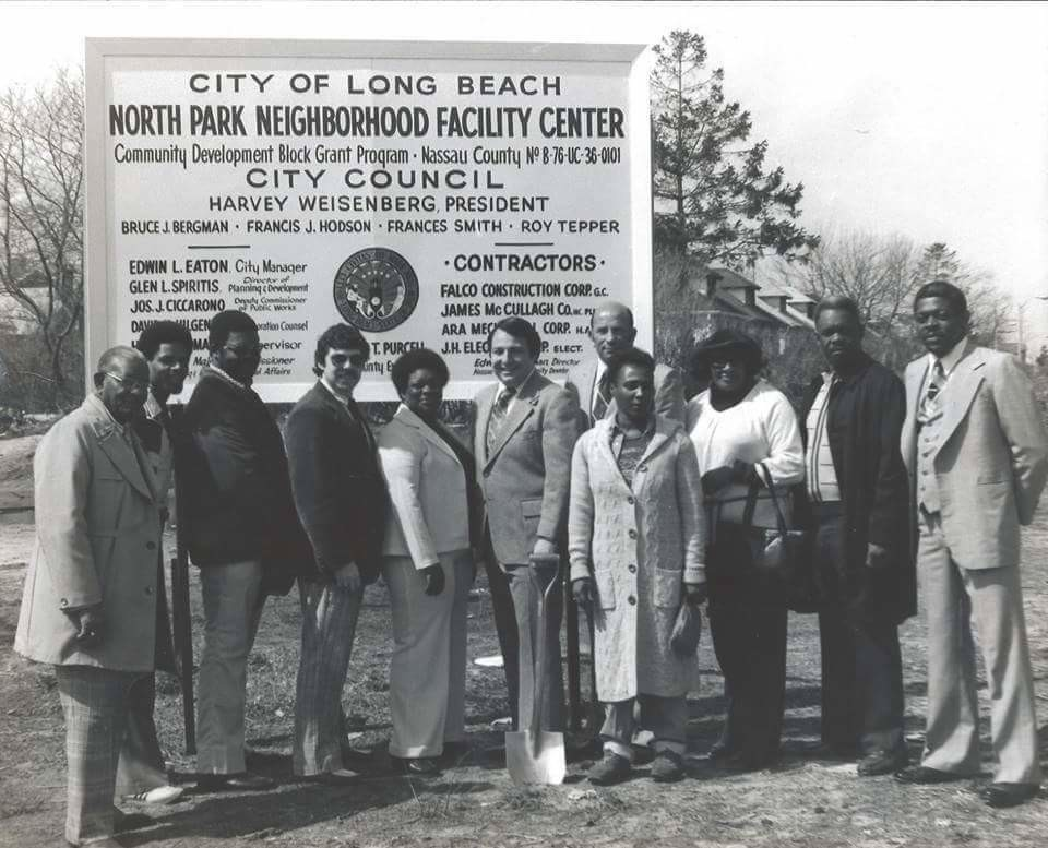 The Rev. J.J. Evans, far left, Wayne Vann, Alonzo Merkerson, former City Councilman Bruce J. Bergman, Cecelia Jones, former council president and City Court Judge Roy Tepper, former State Assemblyman and council President Harvey Weisenberg, Barbara Campbell, Grace Harold, Bill Owens and John H. Simpkins Jr. at a ground-breaking ceremony for the MLK Center's Riverside Boulevard facility in 1980.