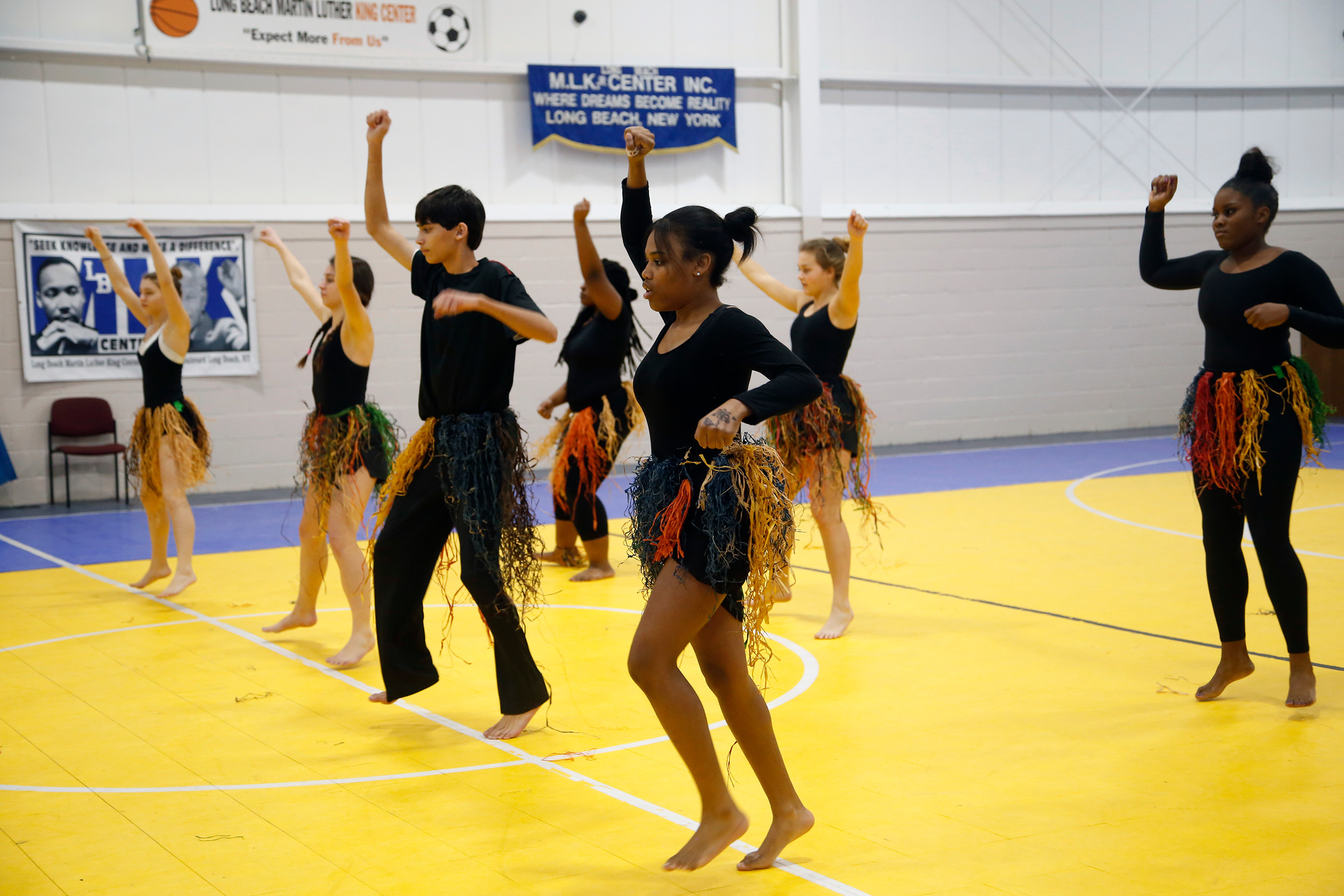 "Long Beach High School's International Baccalaureate dance troupe performed ""Bushasche Etude,"" choreographed by Pearl Primus, on Feb. 16 at the Martin Luther King Center, one of the many programs the center is hosting during Black History Month."