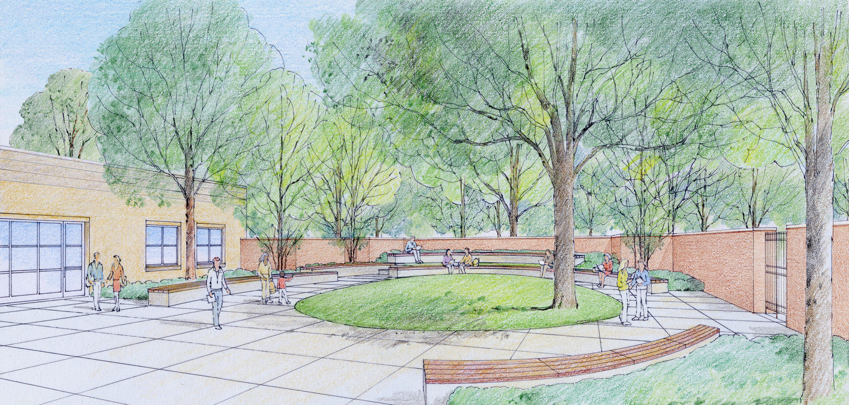 An artist's rendering of the planned outdoor reading garden at the East Meadow Public Library. The garden will be enclosed by brick walls and will be open to the community during library hours.