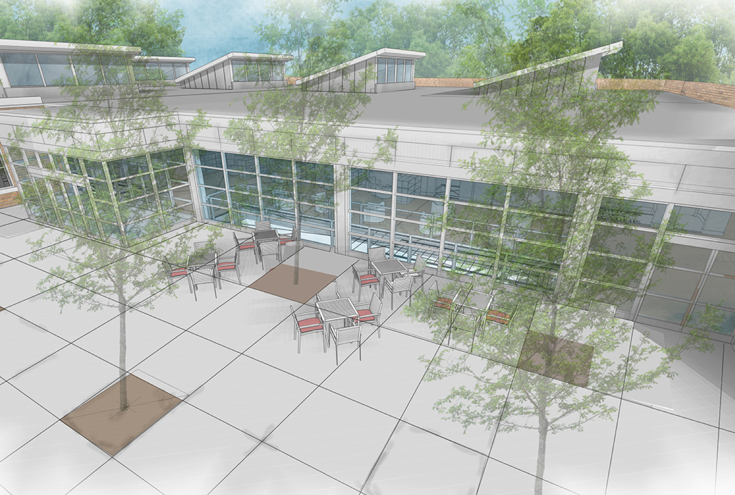 An artist's rendering shows the proposed new library entryway, including strategically placed trees that will provide shade during the summer and allow natural light to filter through the windows in the winter, explained Library Director Rocco Cassano.