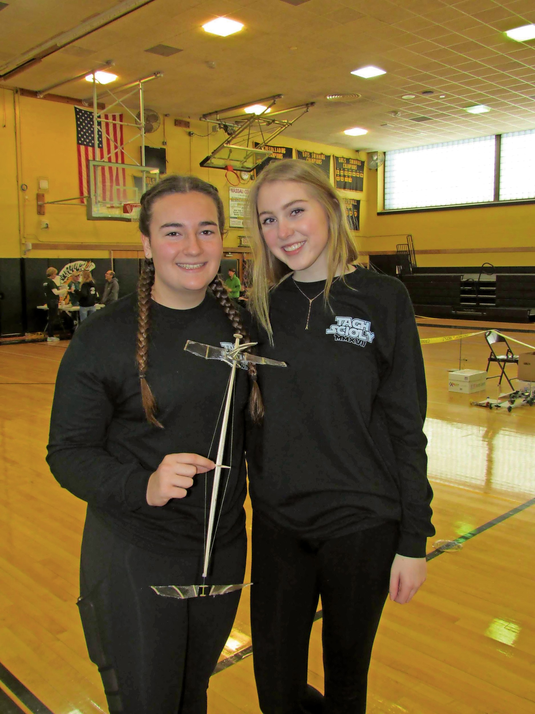 Emily Fuchs and Abigail Cullen, Wantagh High School students, competed in the helicopter event.