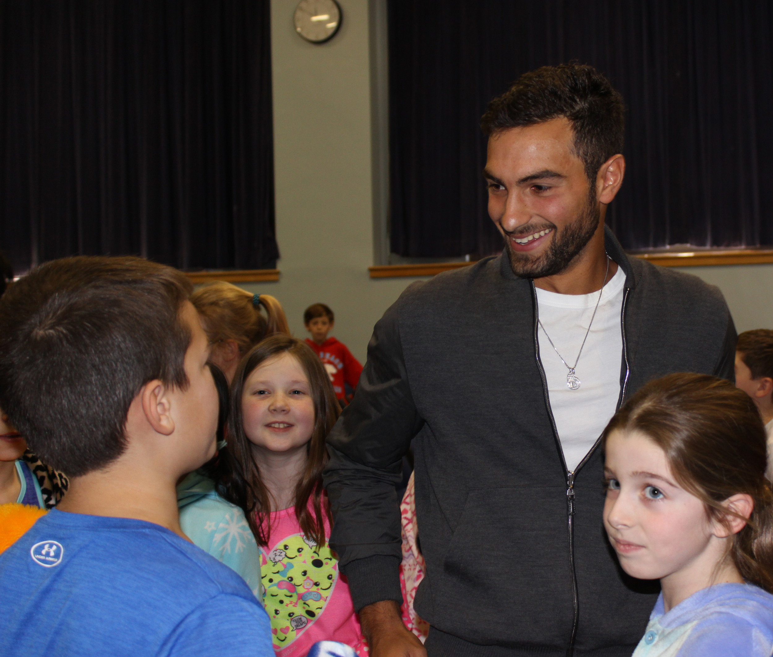 Noah Rubin greeted fourth- and fifth-grade students at Covert Elementary School in Rockville Centre, where his mother, Melanie Rubin, is a special-education teacher.