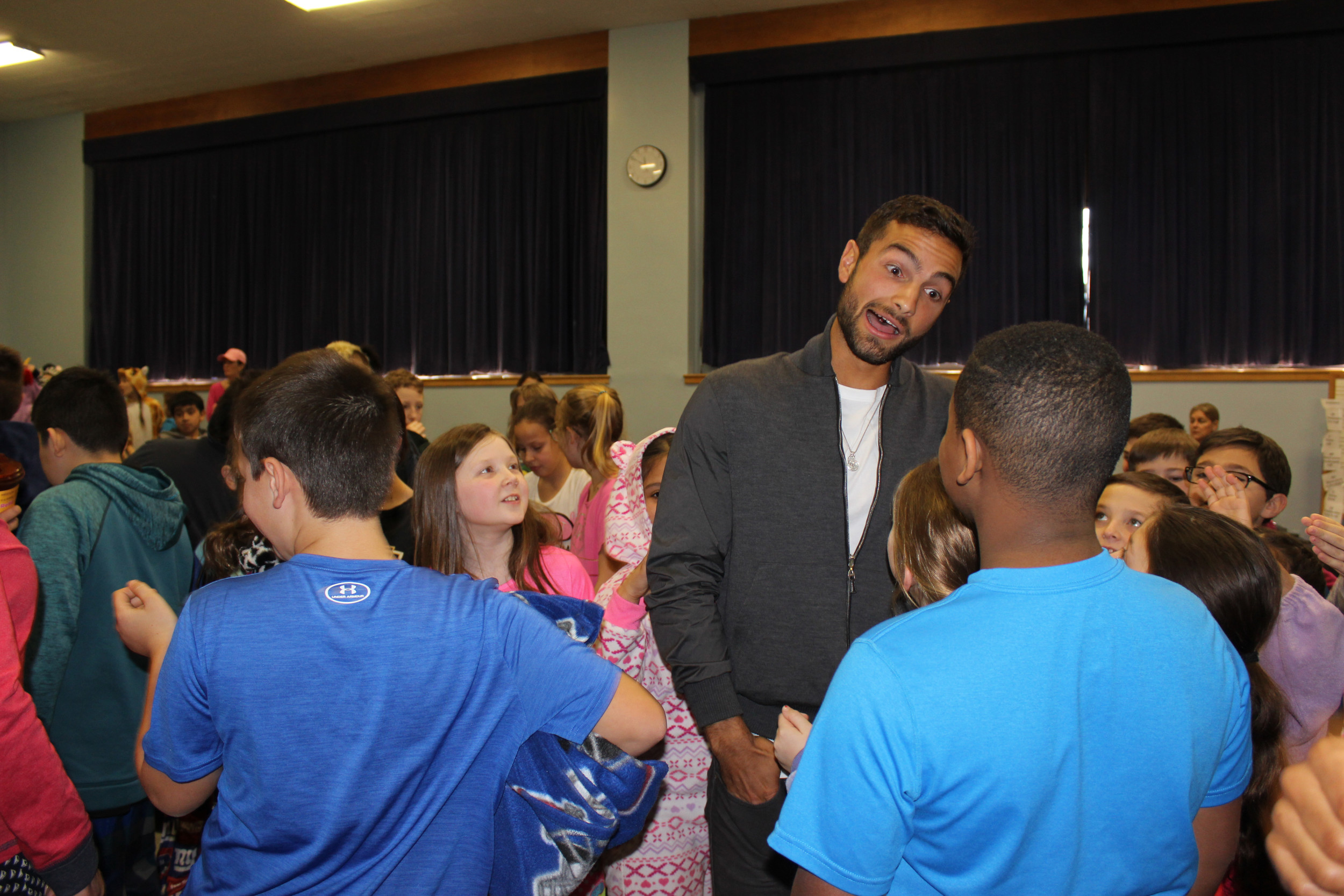 Noah Rubin shared stories and memories with fourth- and fifth-grade students at Covert Elementary School in Rockville Centre.