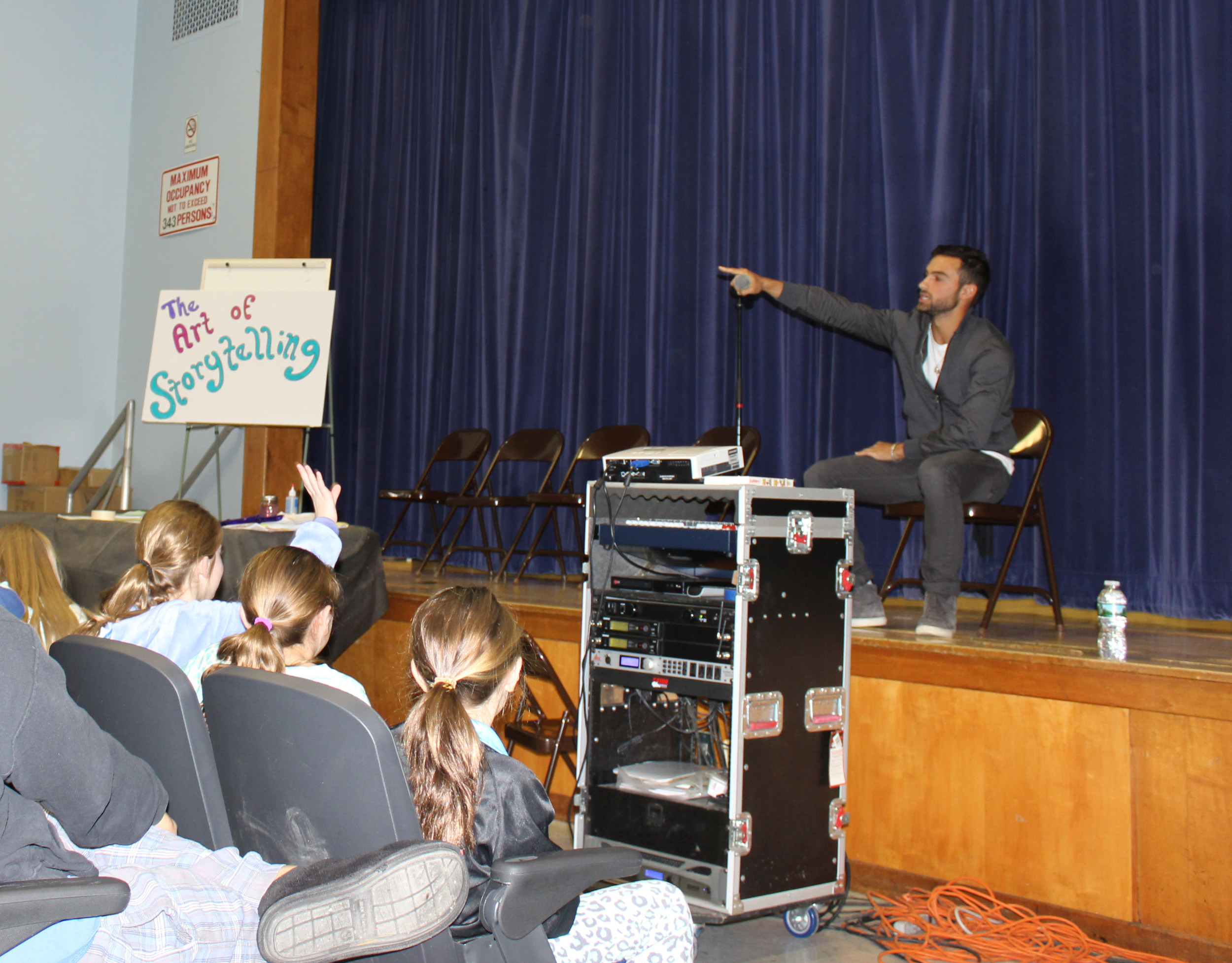 Noah Rubin answered fourth- and fifth-graders' questions on the last day of their Literacy Week.