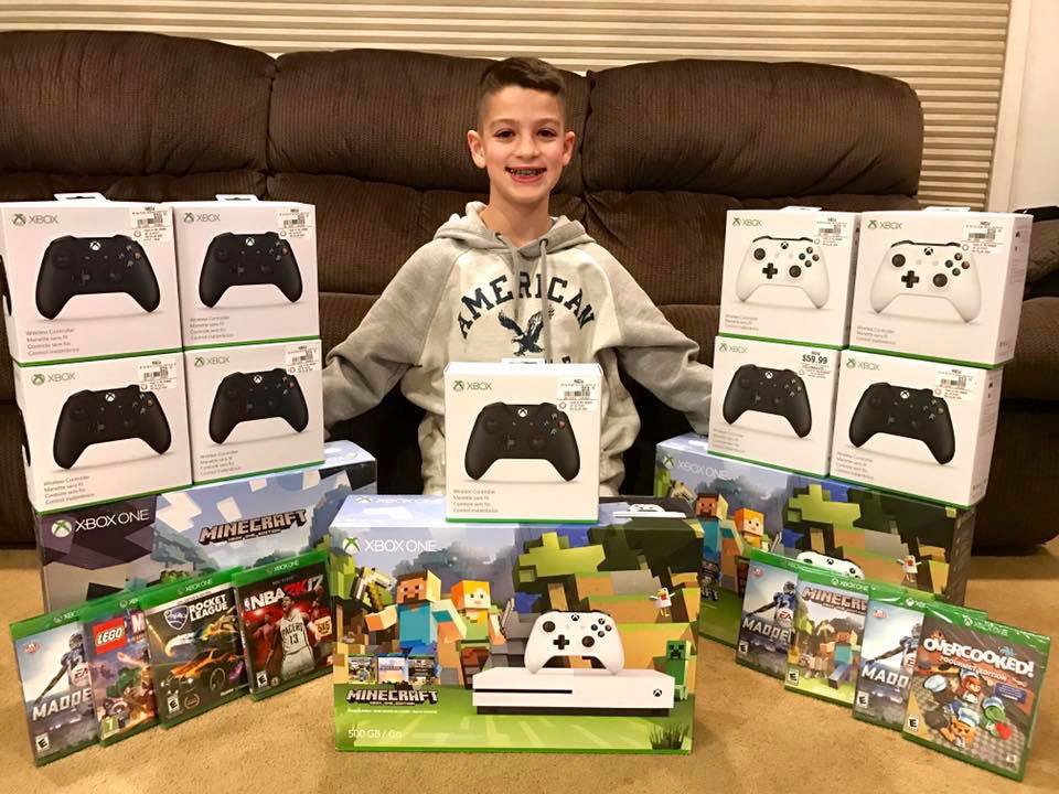David Acker collected money to buy Xbox consoles, controllers and games for young patients at the children's hospital in Queens.