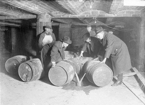 Scenes of Prohibition agents destroying barrels filled with liquor were common during the 1920s.