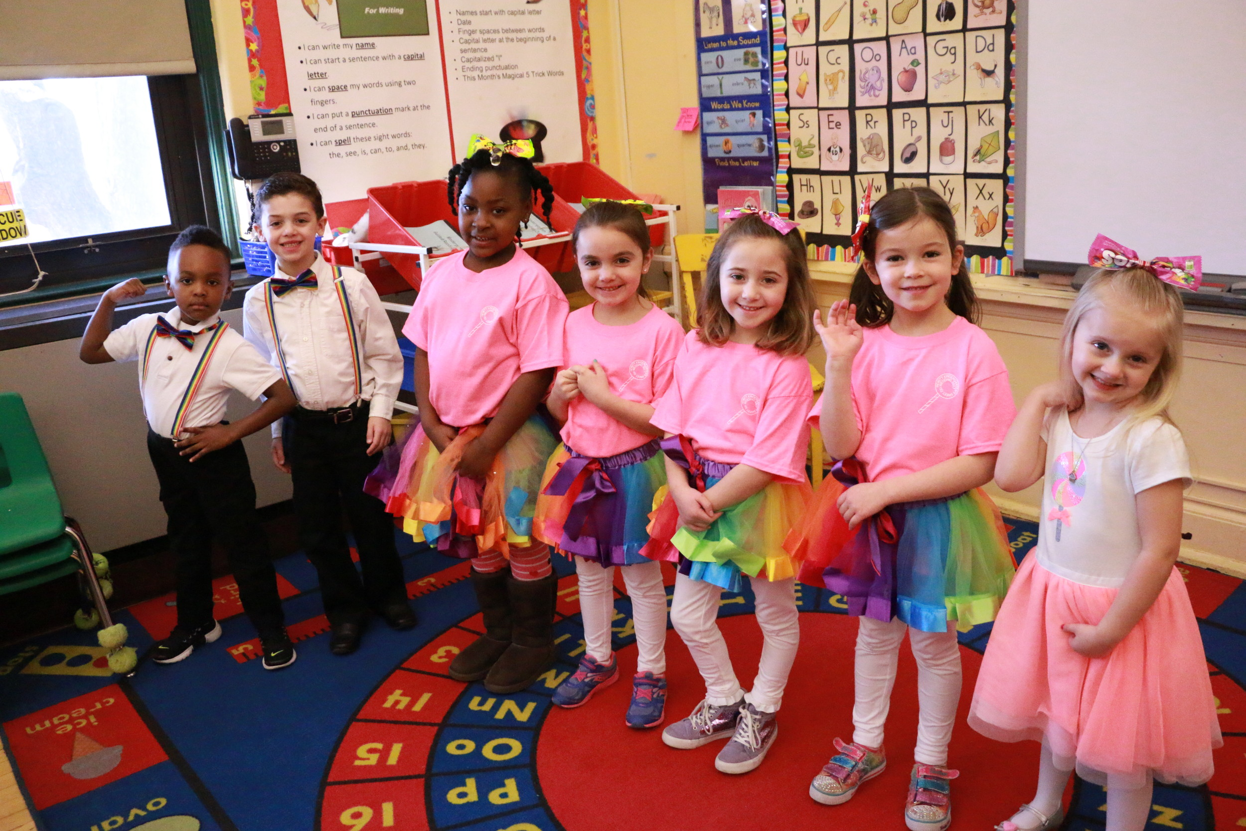 "Preston Oliver, from left, Justin Papadopulos, Madison James, Morgan McGivney, Emmy Iandiorio, Alexa Cliszis and Lea Rassier formed the ""Lollipop Guild""."