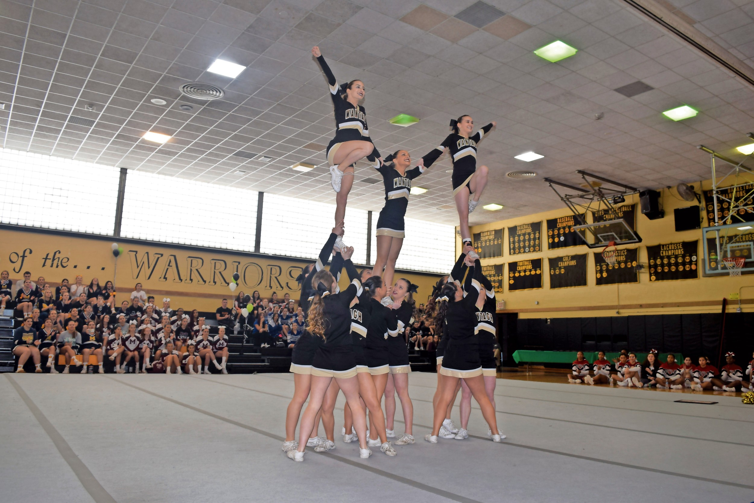 The Wantagh High School varsity cheerleading team won a county championship last weekend in front of the hometown crowd. The squad also placed sixth at the Universal Cheerleading Association's National High School Cheerleading Championship last month.