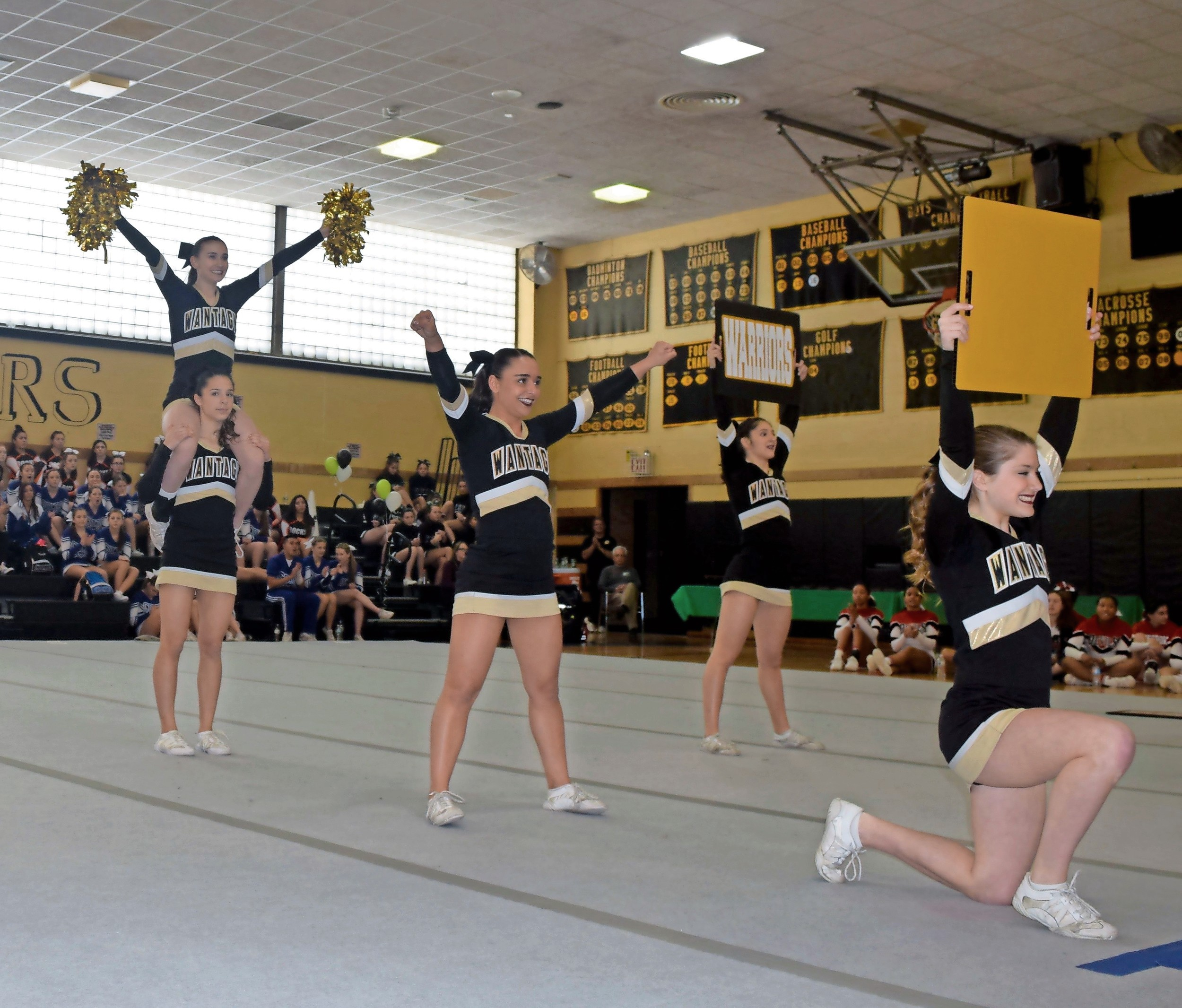 The Lady Warriors shouted a chant at the county contest on Feb. 26.