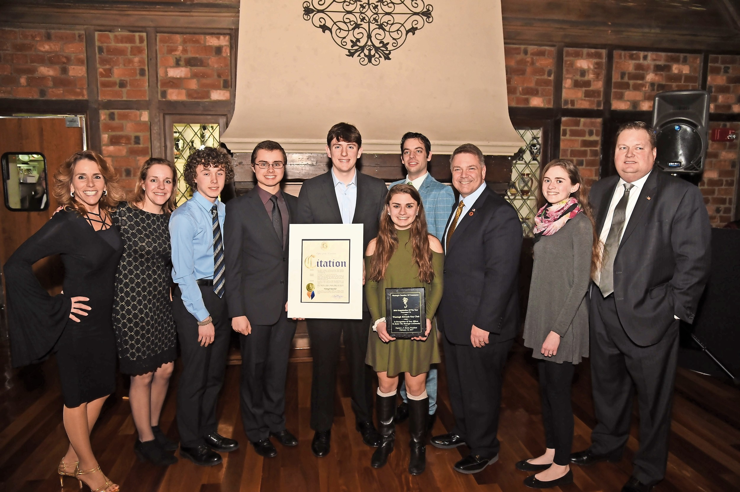 Wantagh Chamber of Commerce leaders named the high school's Key Club the organization of the year at their installation dinner on Feb. 16.