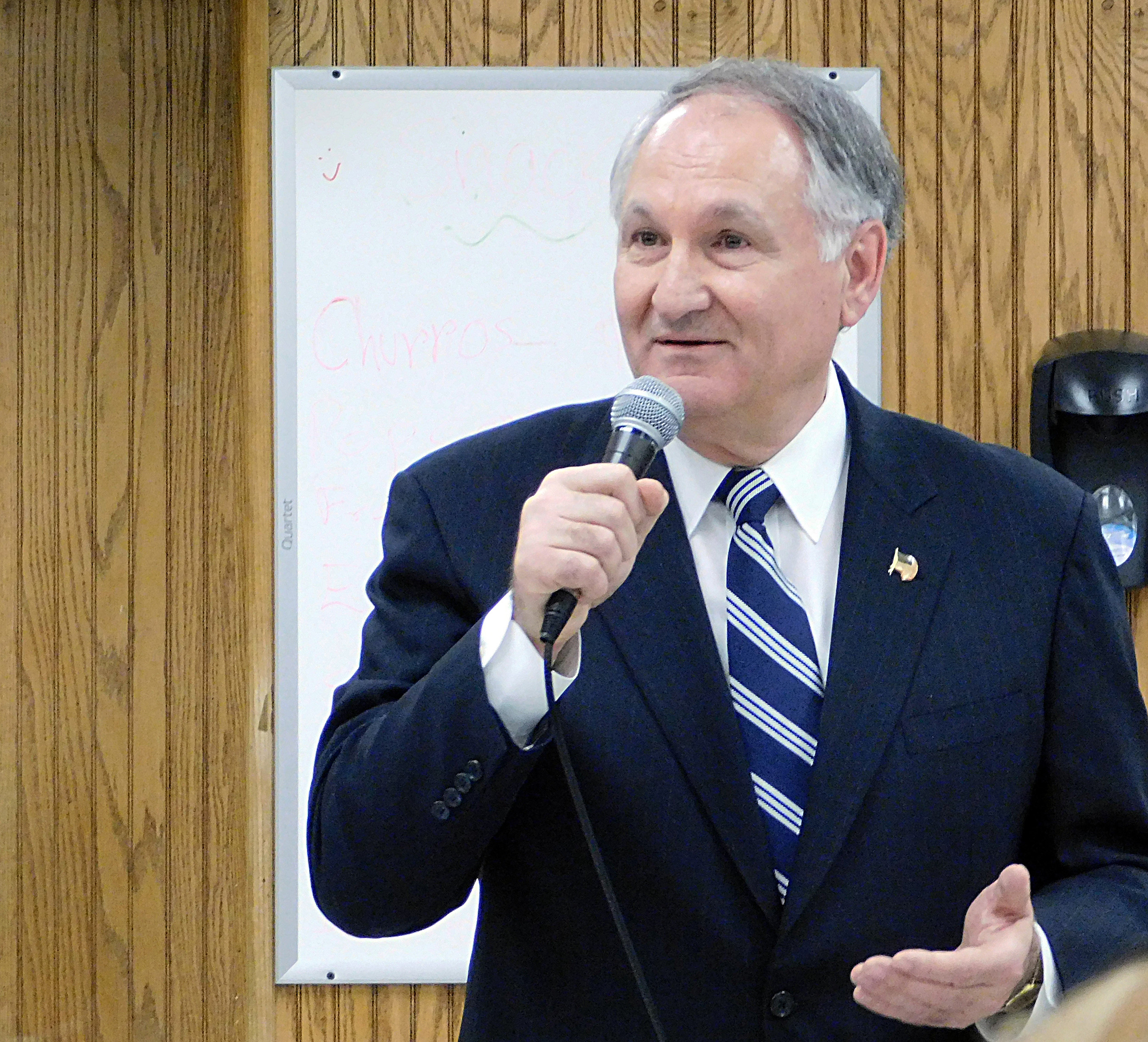 Comptroller George Maragos, also in the running for county executive, defended his recent party change and management of the county's finances at the Democratic candidates forum.