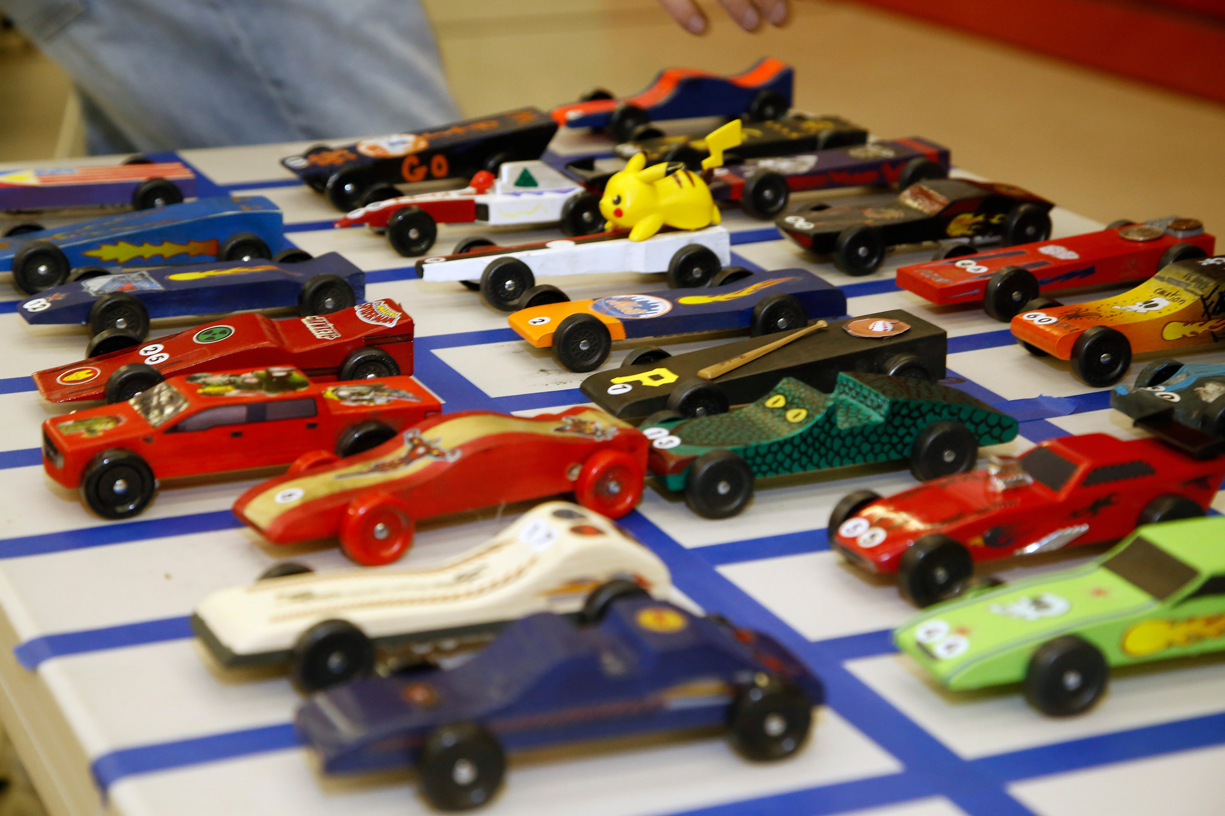 The scouts customized their derby cars, as each varied in shape and style.