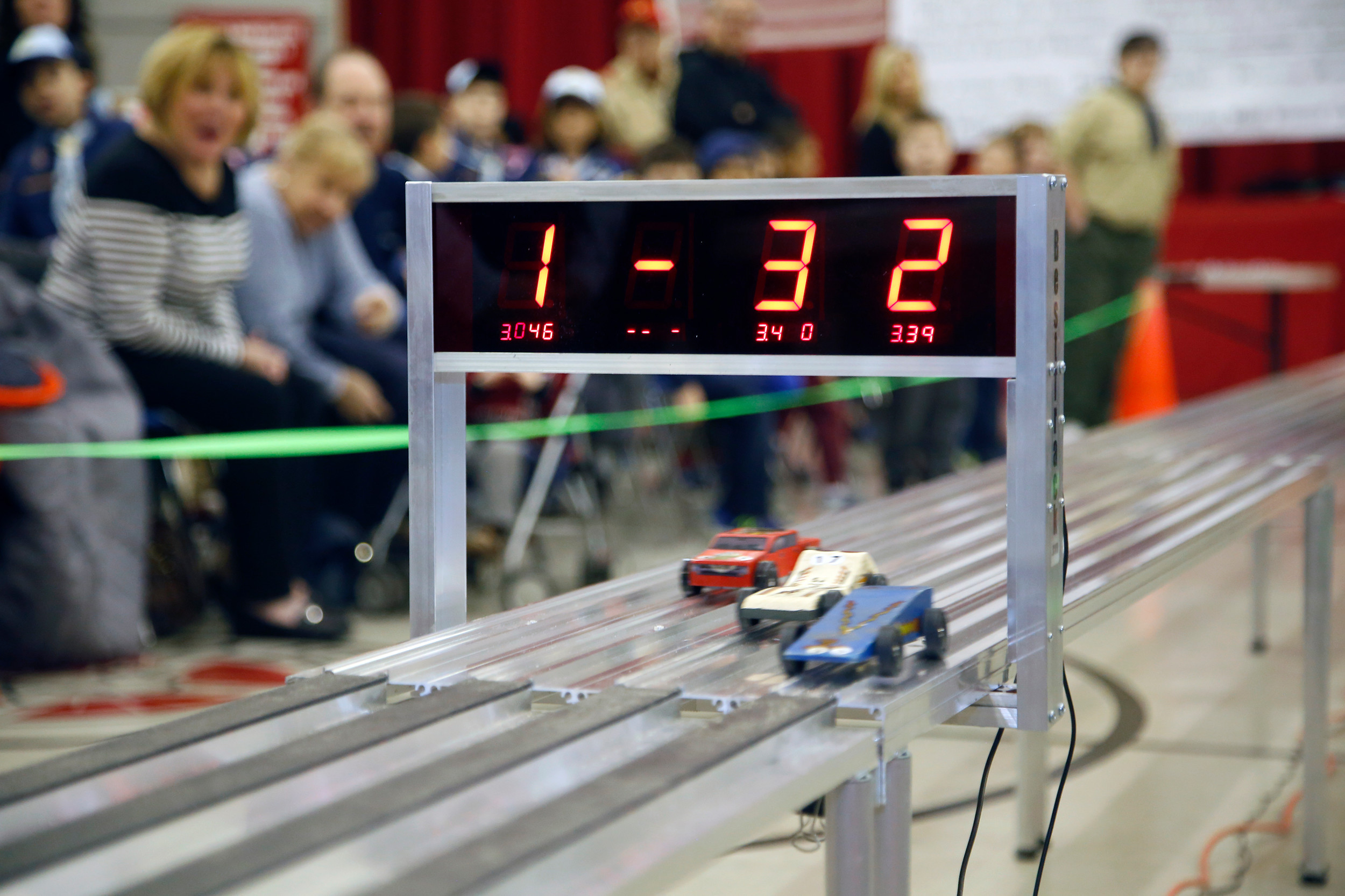 An electronic finish line calculated the times and winners of each heat.