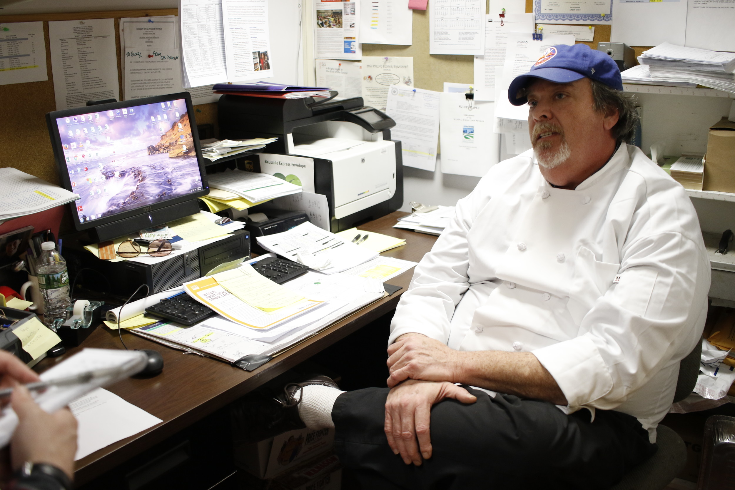 As food services director, Chef Schneider's position is largely managerial, but occasionally he manages to make his way into the kitchen.