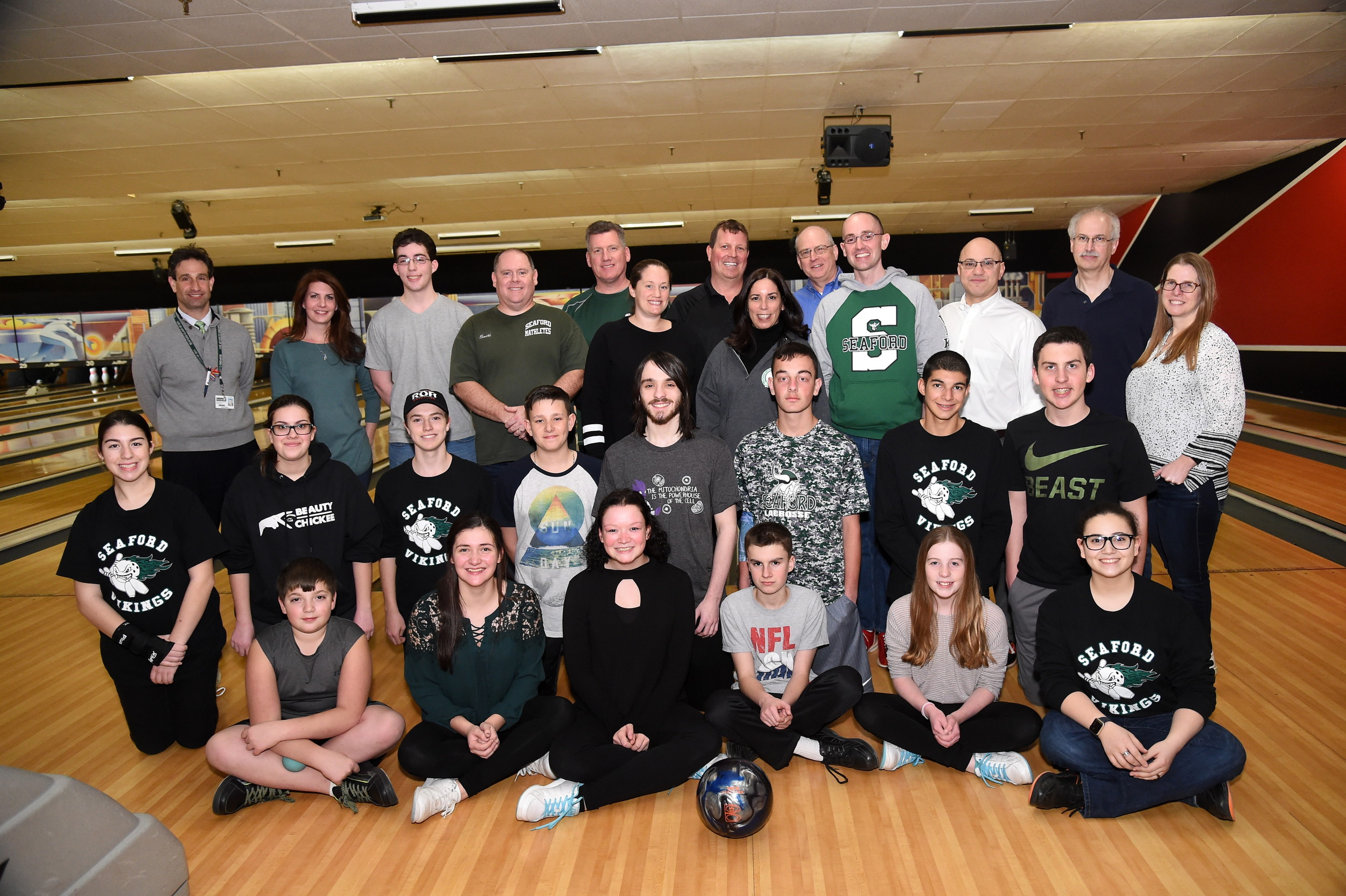 Members of the Seaford boys' and girls' varsity and junior-varsity bowling teams took on Board of Education trustees and administrators from their schools in a friendly competition on Feb. 27.