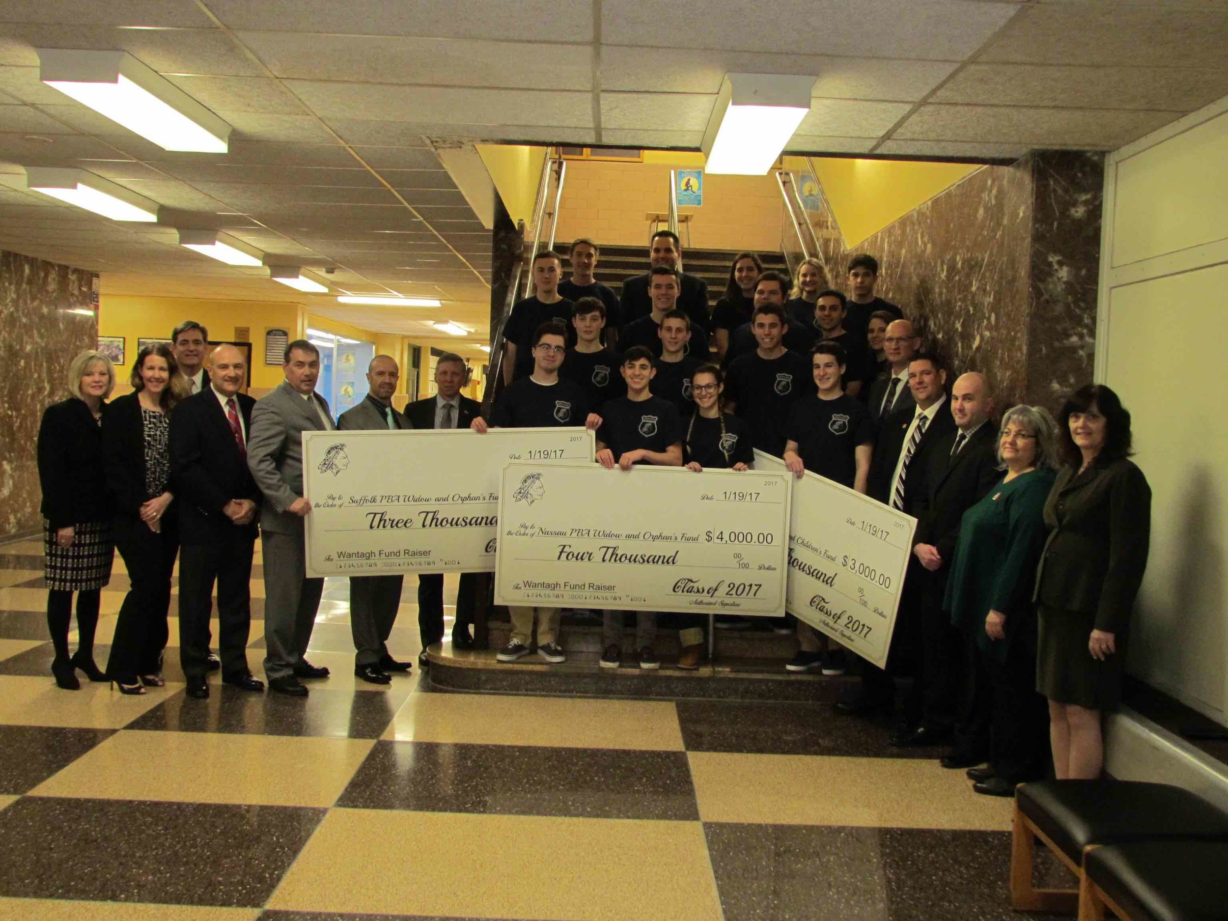 The Wantagh High School class of 2017 raised $10,000 for the Police Benevolent Association Widow and Orphan Fund in New York City and Nassau and Suffolk counties.