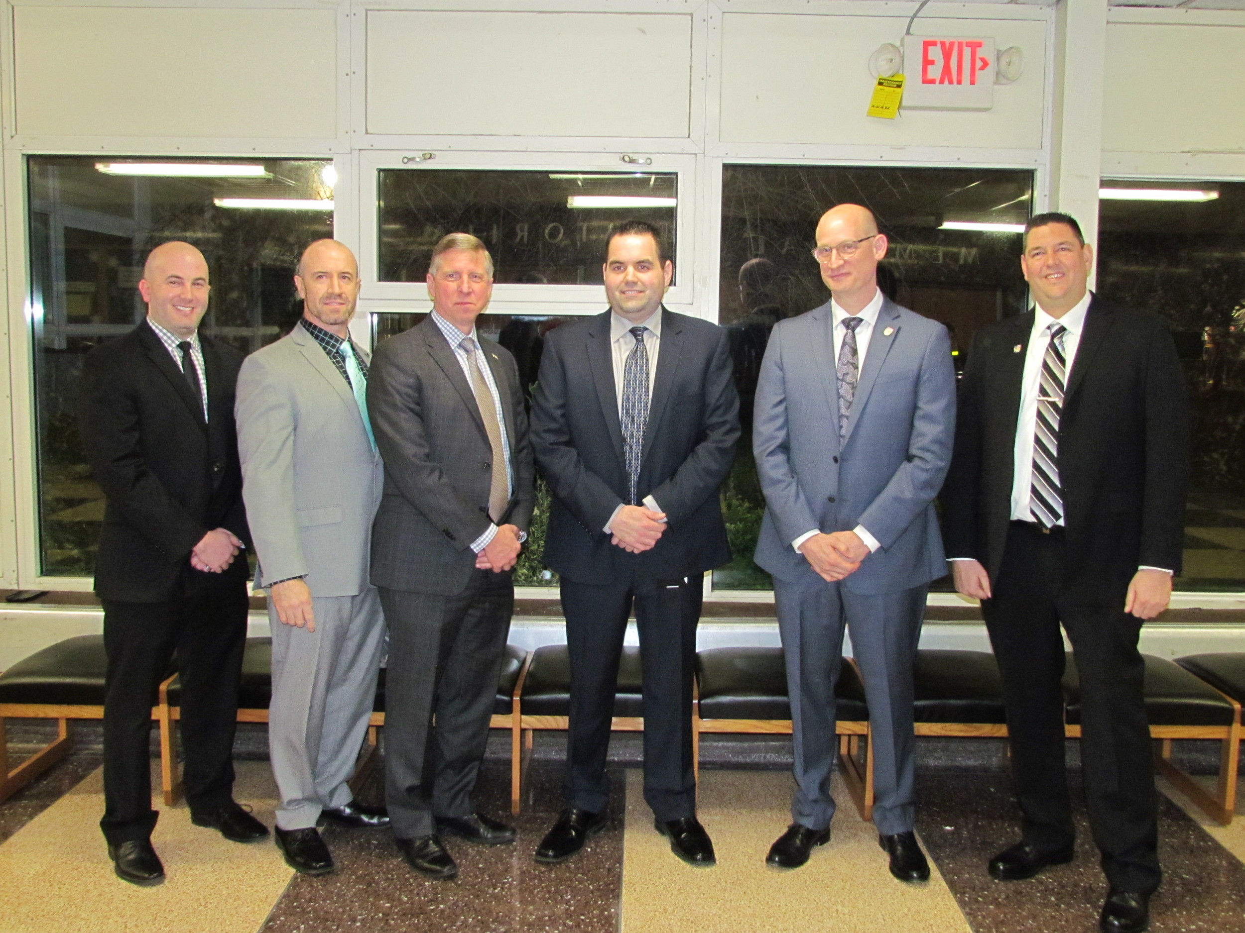 Representatives from the PBA groups attended the Wantagh Board of Education meeting in January to accept the students' donations.