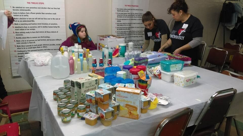Volunteers collected and donated 715 jars and cups of baby food and hundreds of supplies and clothing items before the pantry opened to the public on March 2.
