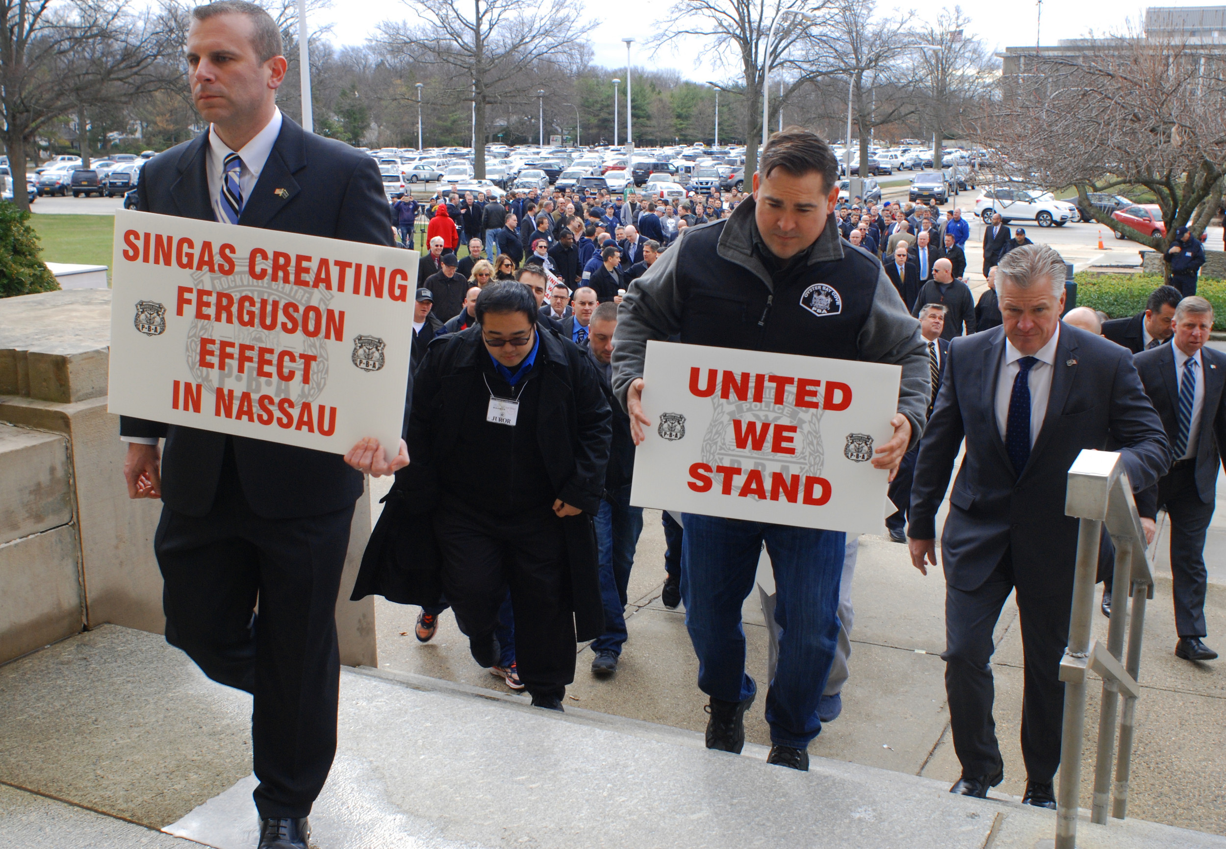 Federico's supporters entered the Nassau County Courthouse on Wednesday to protest felony assault charges against him.