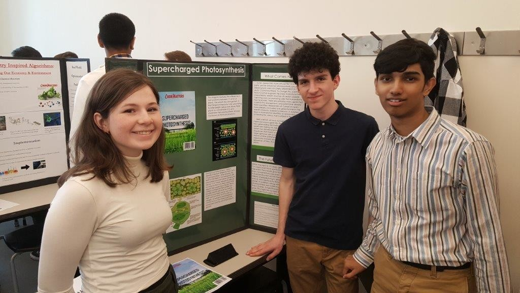 "Juniors Katherine Edell, from left, Alex Valenti and Tyler Ramcharam claimed top honors for ""Super Charged Photosynthesis."""