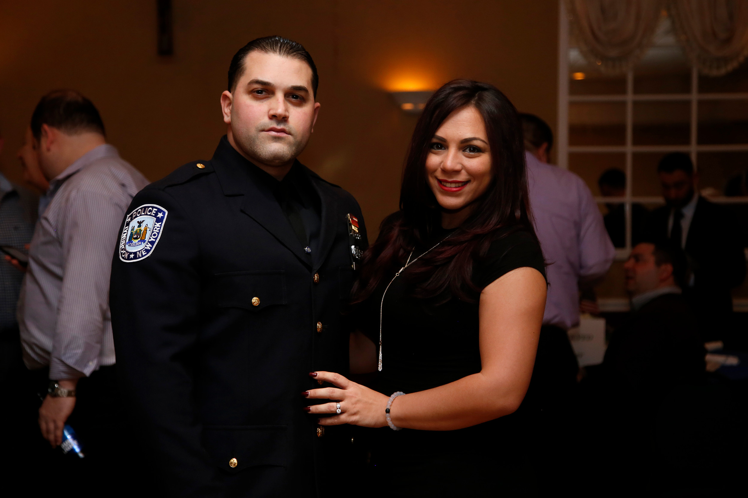 Officer Christopher Lopez, seen here with his fiancé Christina Ruocco, was named Lynbrook Police Department First Responder of the Year.