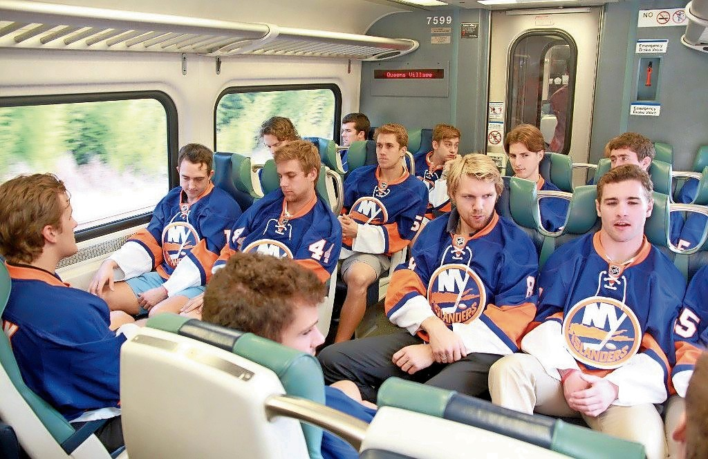 The New York islanders are reportedly considering a move to Belmont Park. Above, members of the Islanders on the Long Island Rail Road..